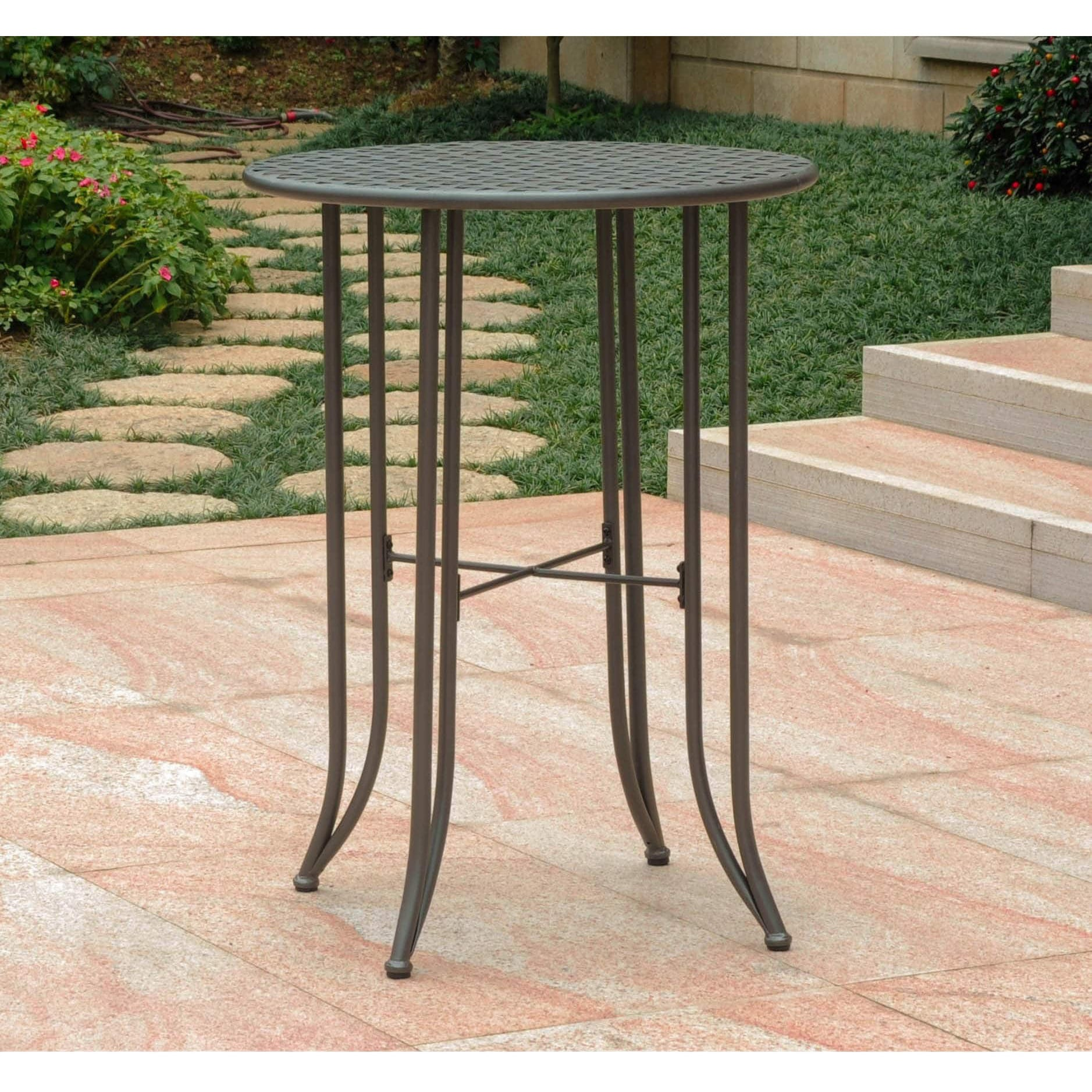 outdoor bar height table Shop International Caravan Mandalay Outdoor Iron Bar height Table  outdoor bar height table