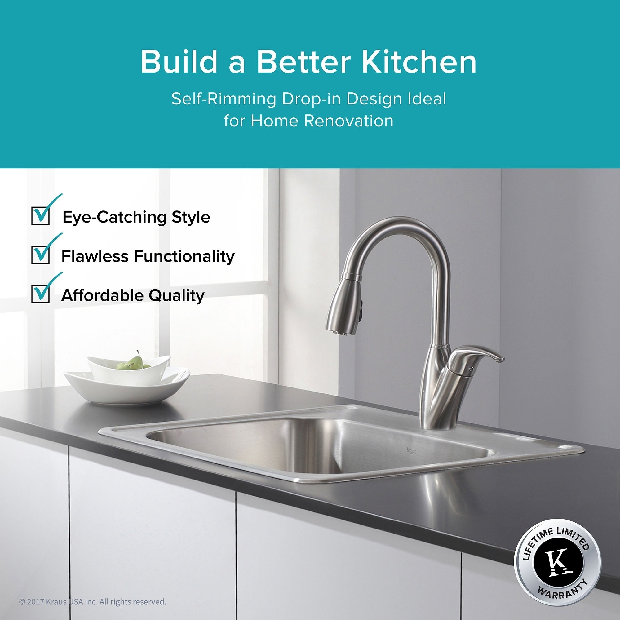 Kraus 25 Inch Topmount Single Bowl 18 Gauge Stainless Steel Kitchen Sink With Noisedefend Soundproofing Free Shipping Today 13827265