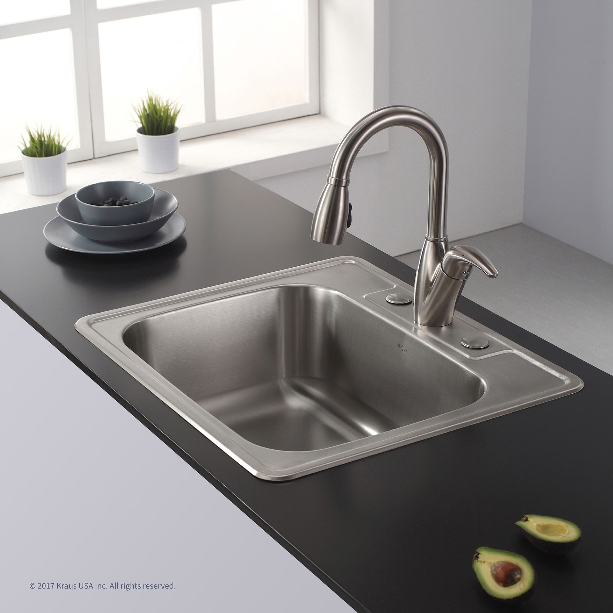 Shop kraus ktm25 drop in 25 inch 18 gauge single bowl satin stainless steel kitchen sink with noisedefend soundproofing free shipping today