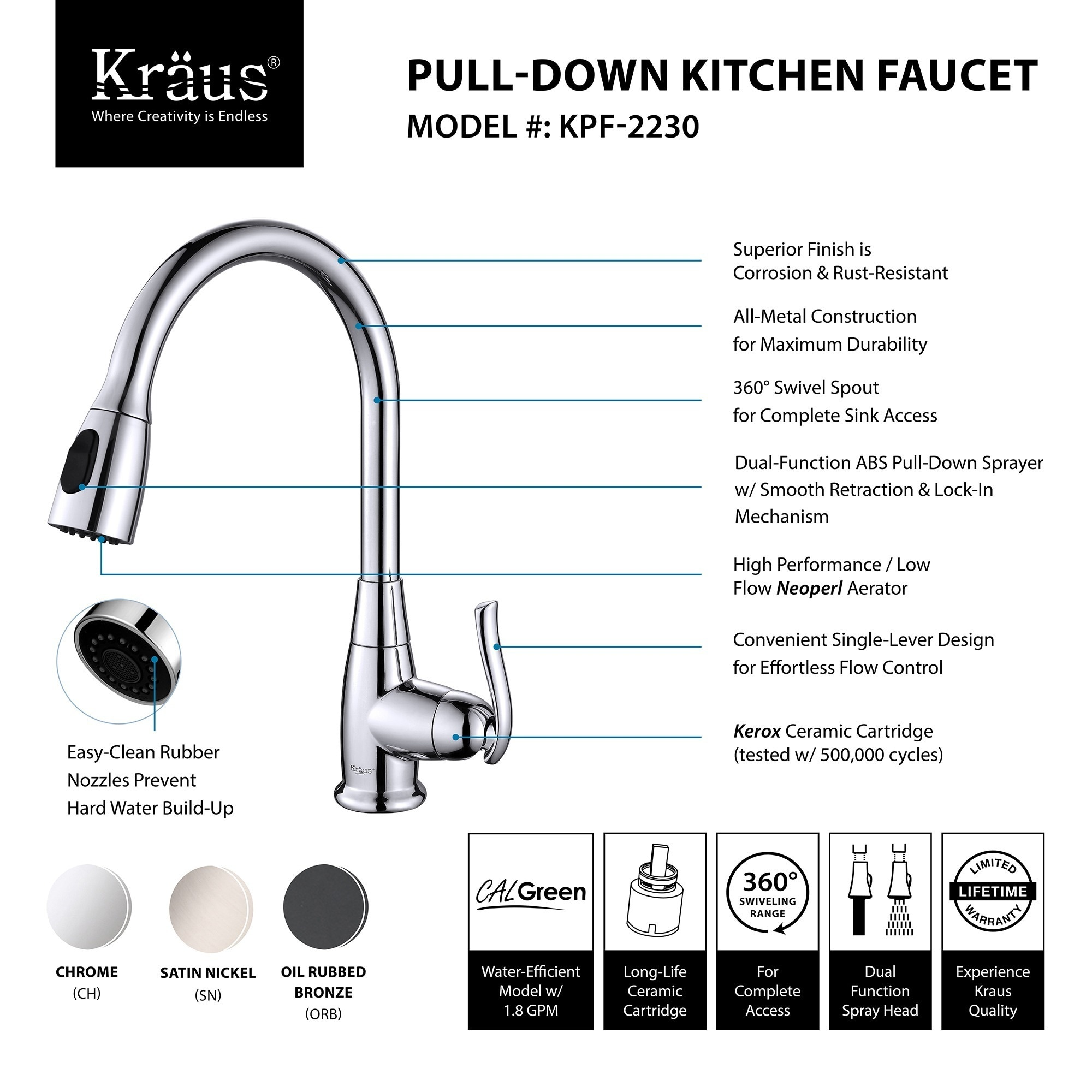KRAUS Single Handle Stainless Steel High Arch Kitchen Faucet with