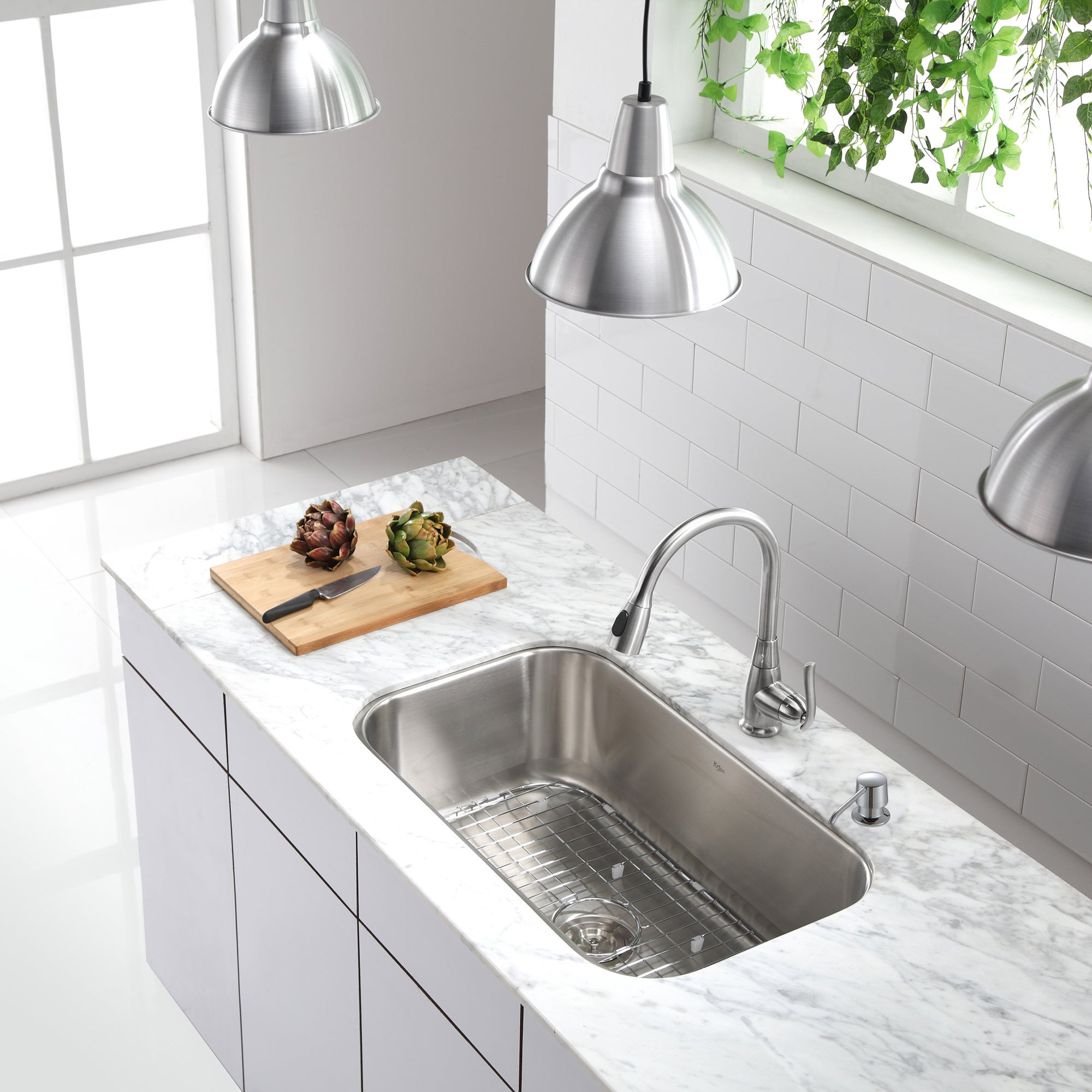 KRAUS Single-Handle Stainless Steel High Arch Kitchen Faucet with Pull Down  Dual-Function Sprayer in Chrome - Free Shipping Today - Overstock.com -  13827383
