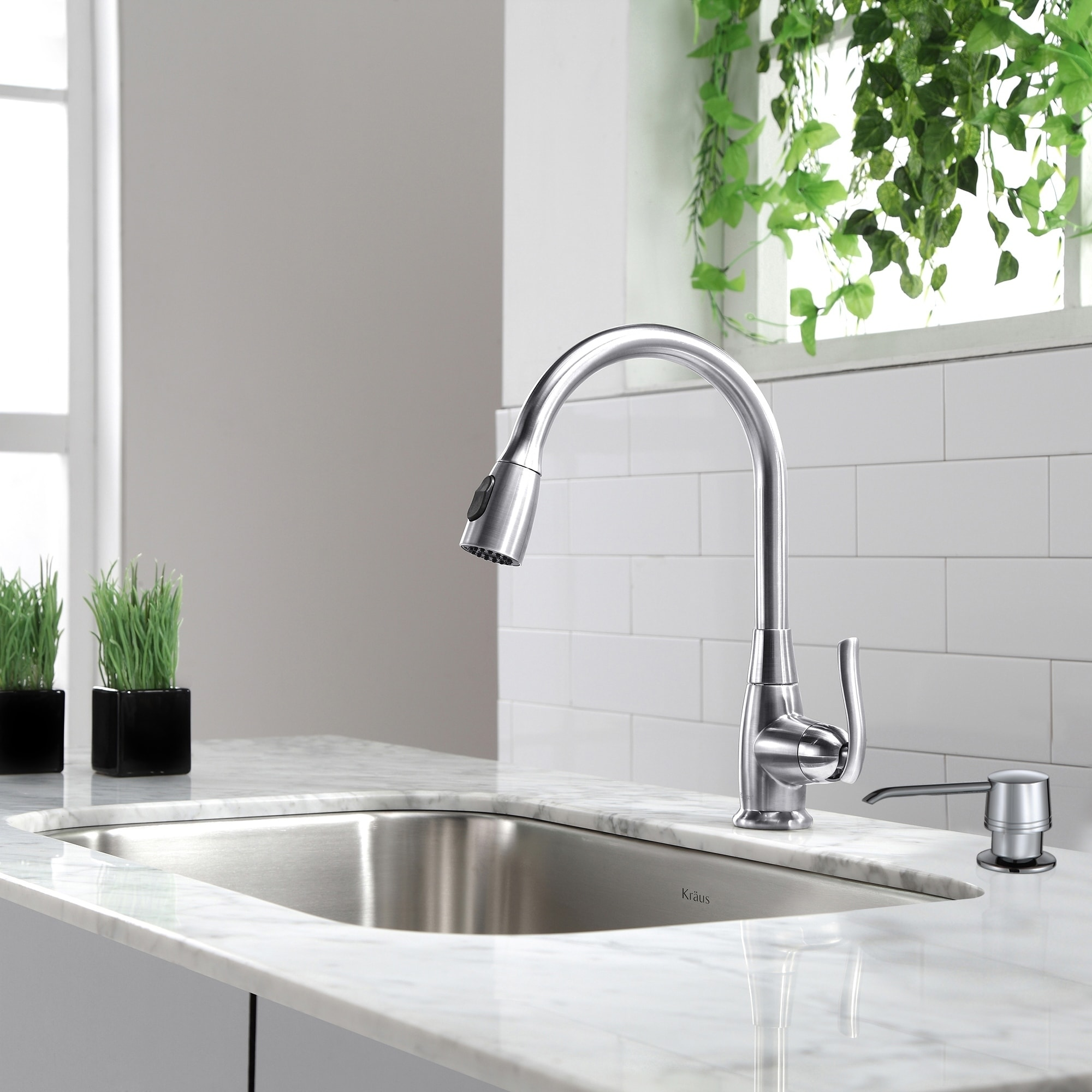 Shop kraus kpf 2230 high arch 1 handle 2 function sprayhead pull down kitchen faucet and soap dispensers free shipping today overstock com 6172984