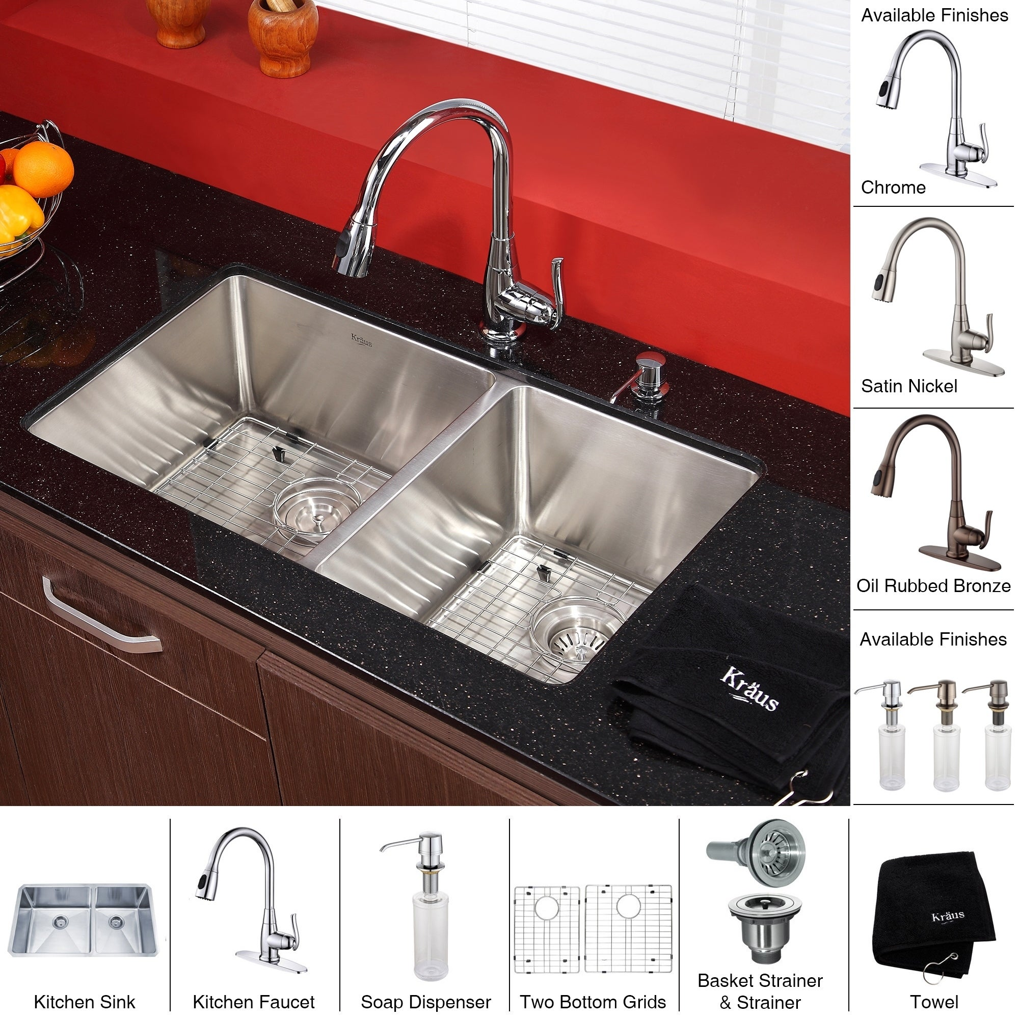 33 inch kitchen sink kitchen faucet shop kraus 33 inch undermount double bowl stainless steel kitchen sink kpf2230 pull down faucet soap dispenser on sale free shipping today