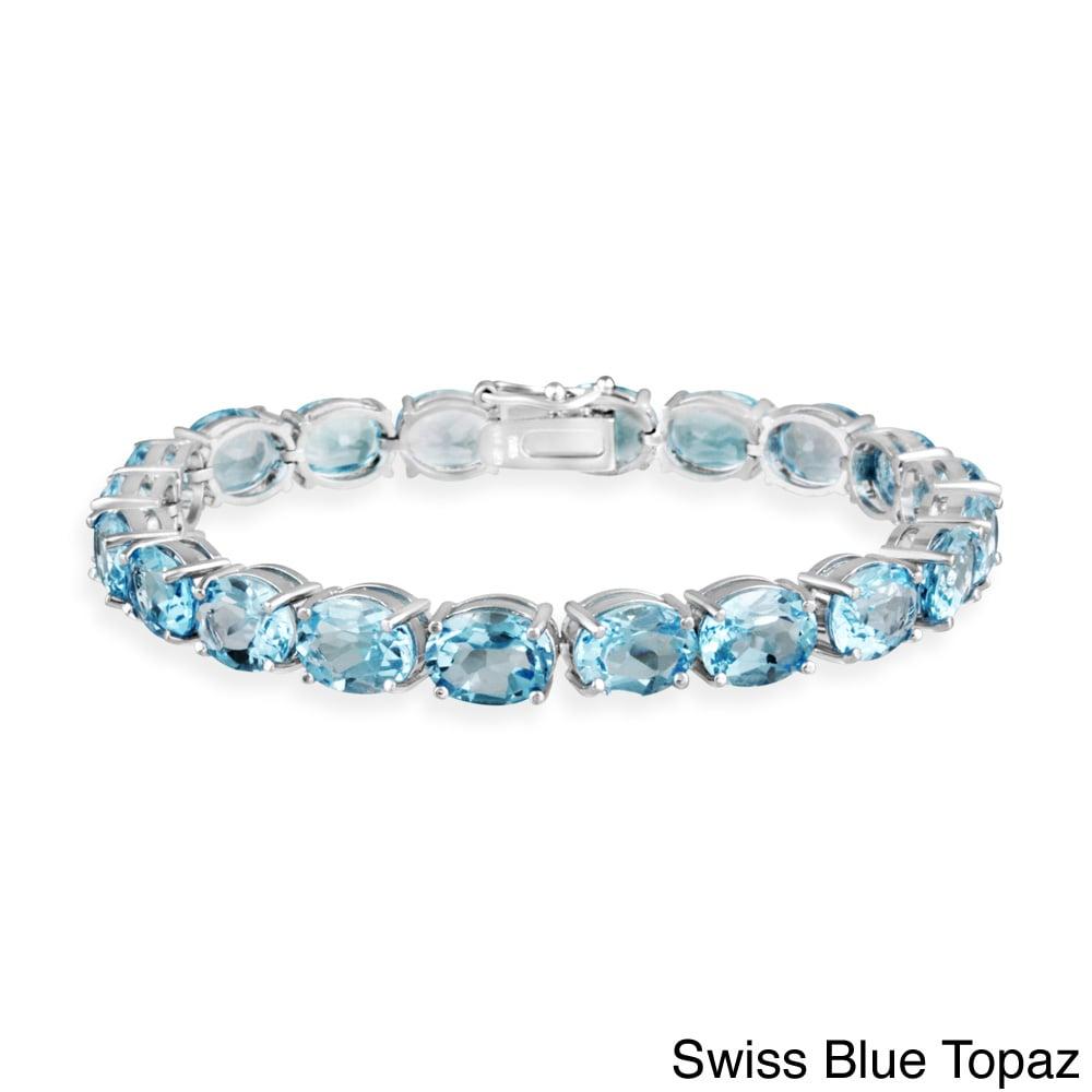 Glitzy Rocks Sterling Silver 44 Ctw Blue Topaz Bracelet On Free Shipping Today 6173231