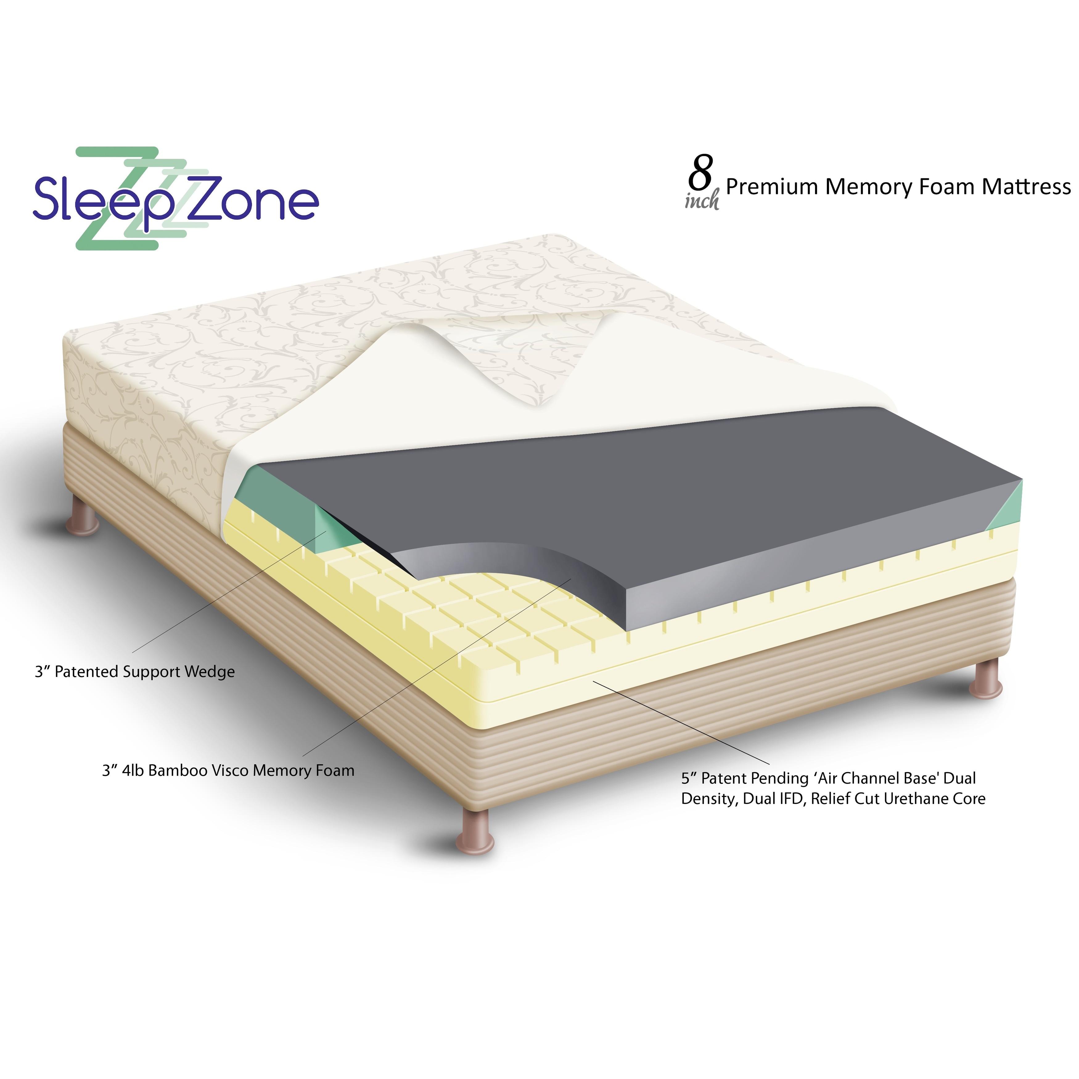 Sleep Zone Premium Adjustable Bed and 8 inch Split King size