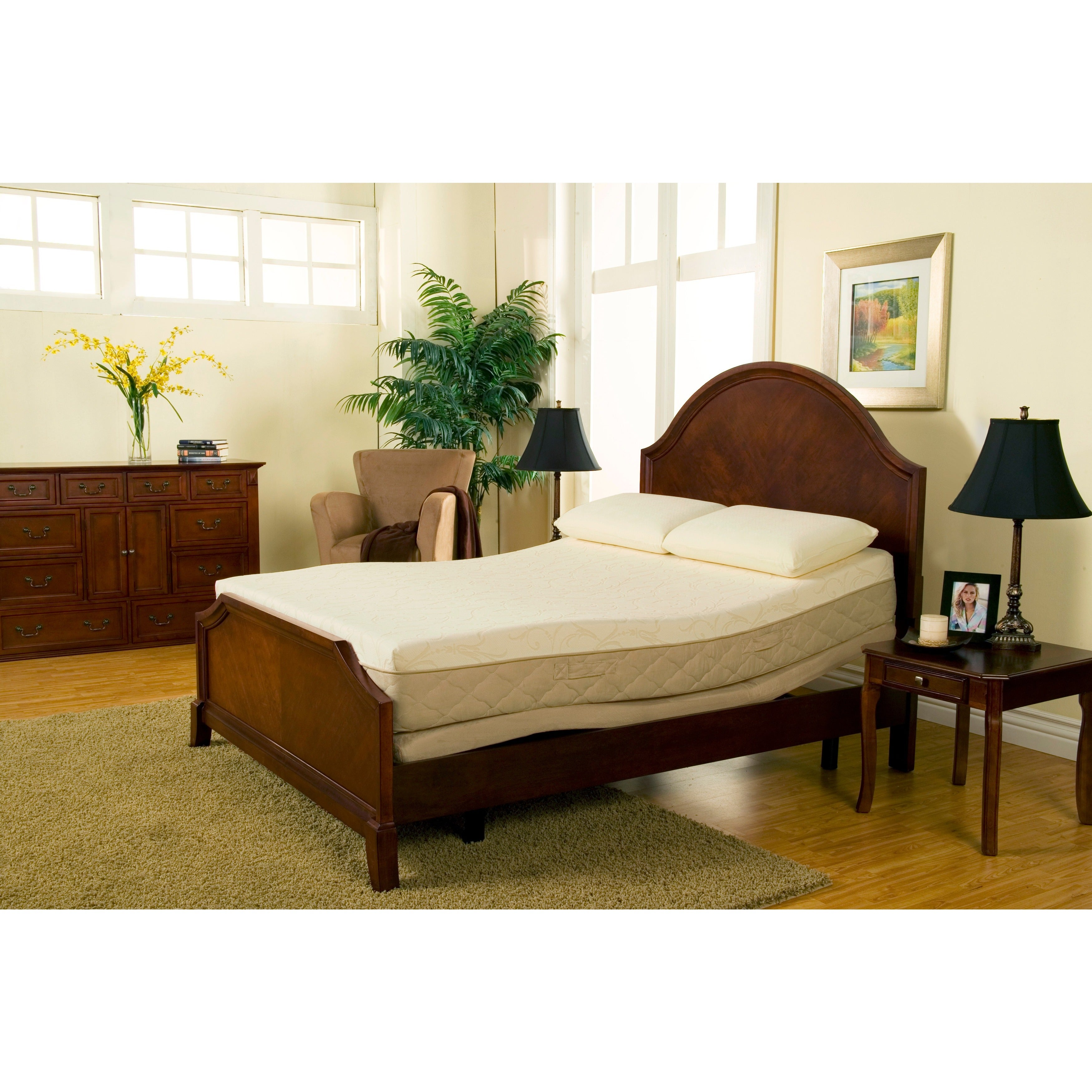 Sleep Zone Supreme Adjustable Bed And 10 Inch Queen Size Latex And Memory  Foam