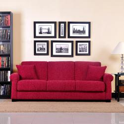 shop portfolio rio convert a couch crimson red chenille rolled arm rh overstock com Chenille Sectional Chenille Couch