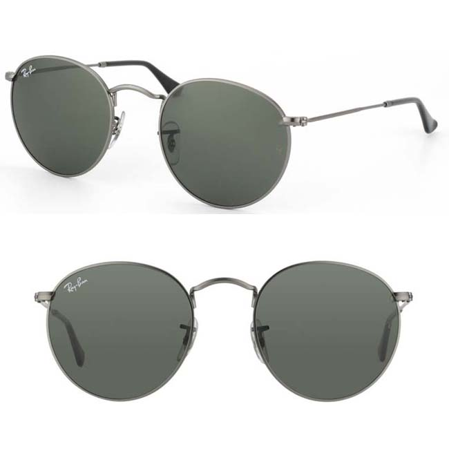 ray-ban round sunglasses in grey