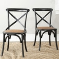 Safavieh Country Farmhouse Dining Bradford x Back Antiqued Black Dining Chairs (Set of 2)
