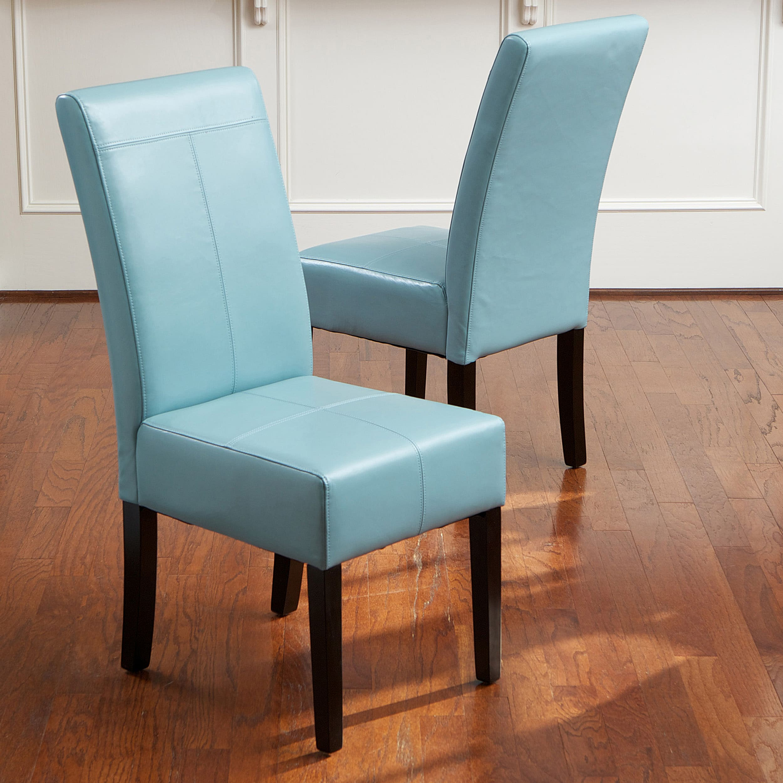 T stitch teal blue leather dining chairs set of 2 by christopher knight home