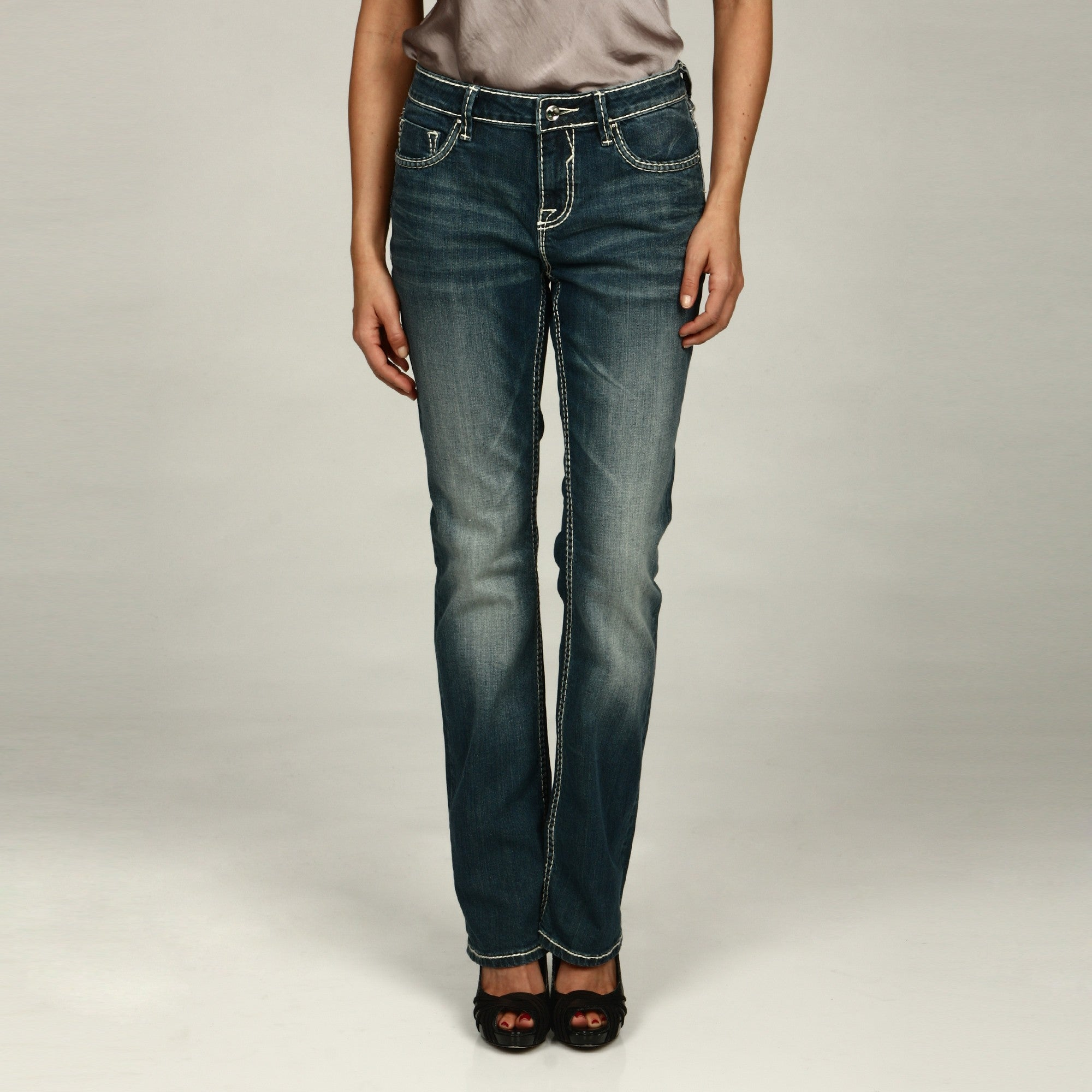 12526d8693f Shop Vigoss Women s Medium Wash Bootcut Embellished-pockets Jeans ...