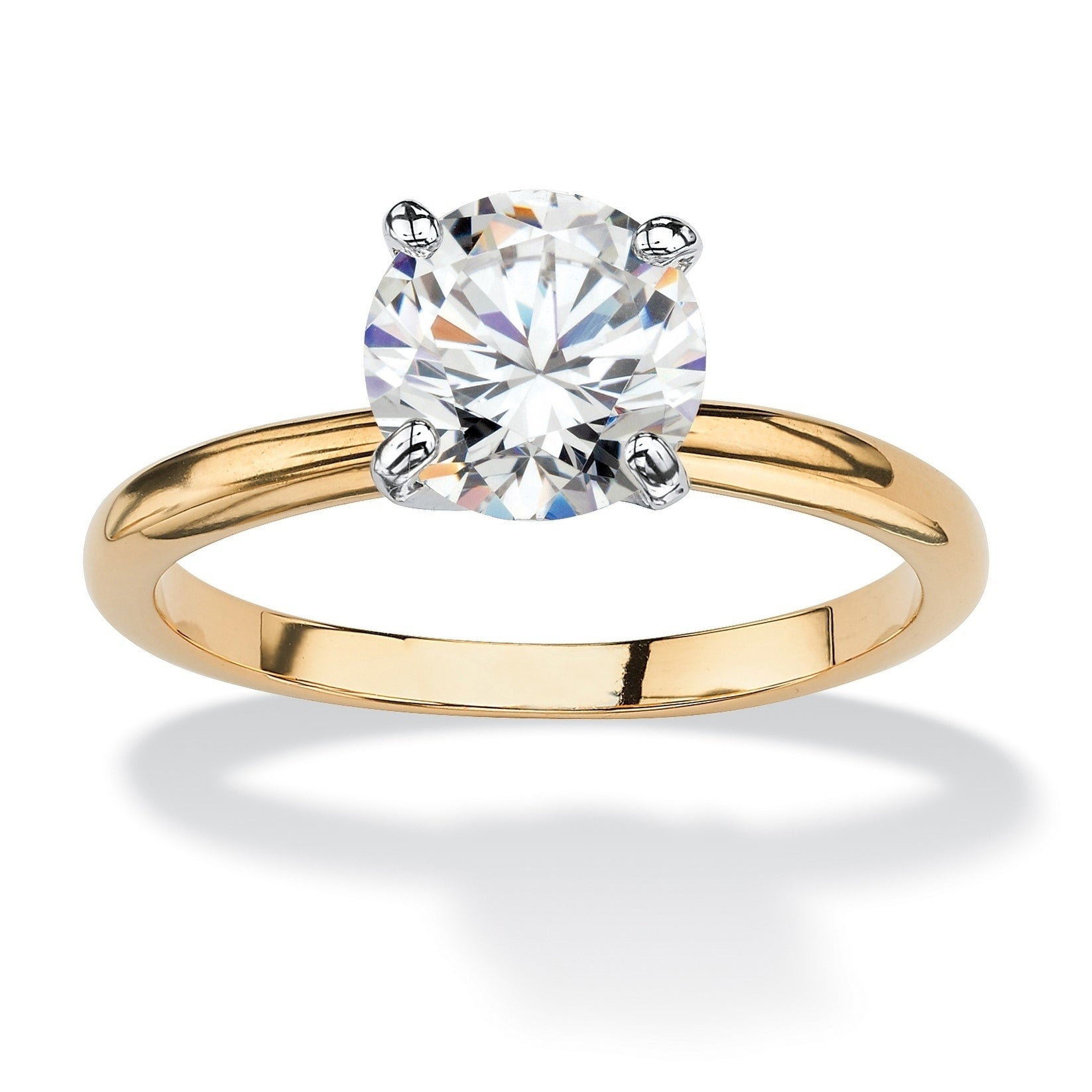 Shop Yellow Gold-plated Cubic Zirconia Solitaire Engagement Ring ... 52fef4b2e