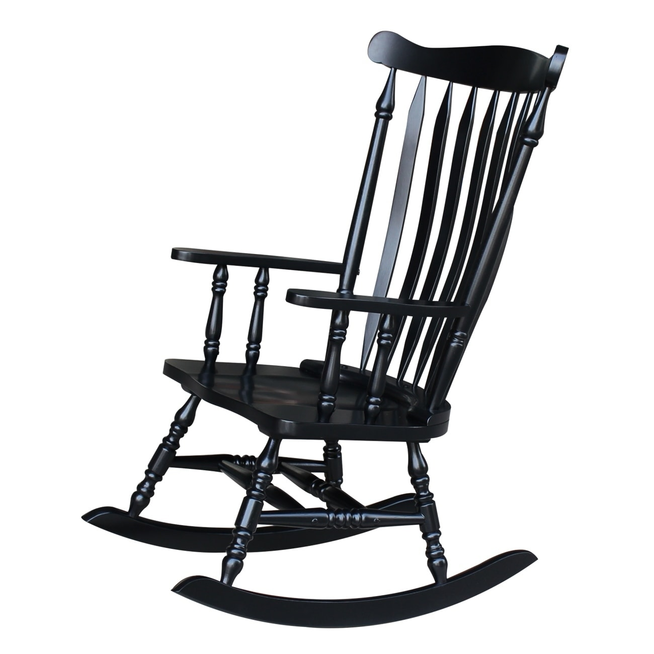 Bon Shop Colonial Antique Black Rocking Chair   Free Shipping Today    Overstock.com   6193234