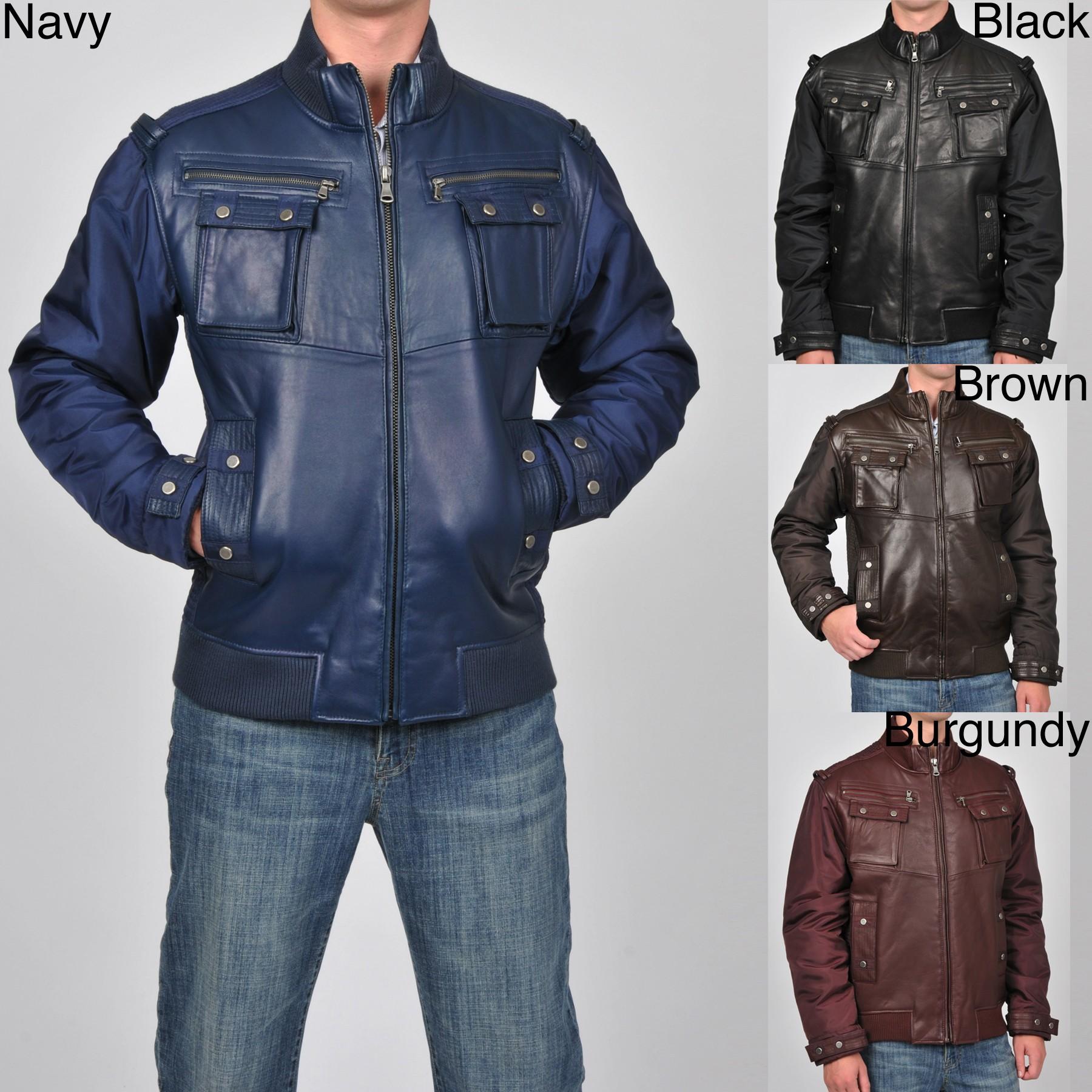 a4222672e Knoles & Carter Men's Big & Tall Leather Bomber Jacket