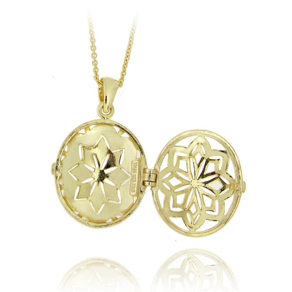 DB Designs 18k Gold over Silver Diamond Accent Oval Star Locket ...