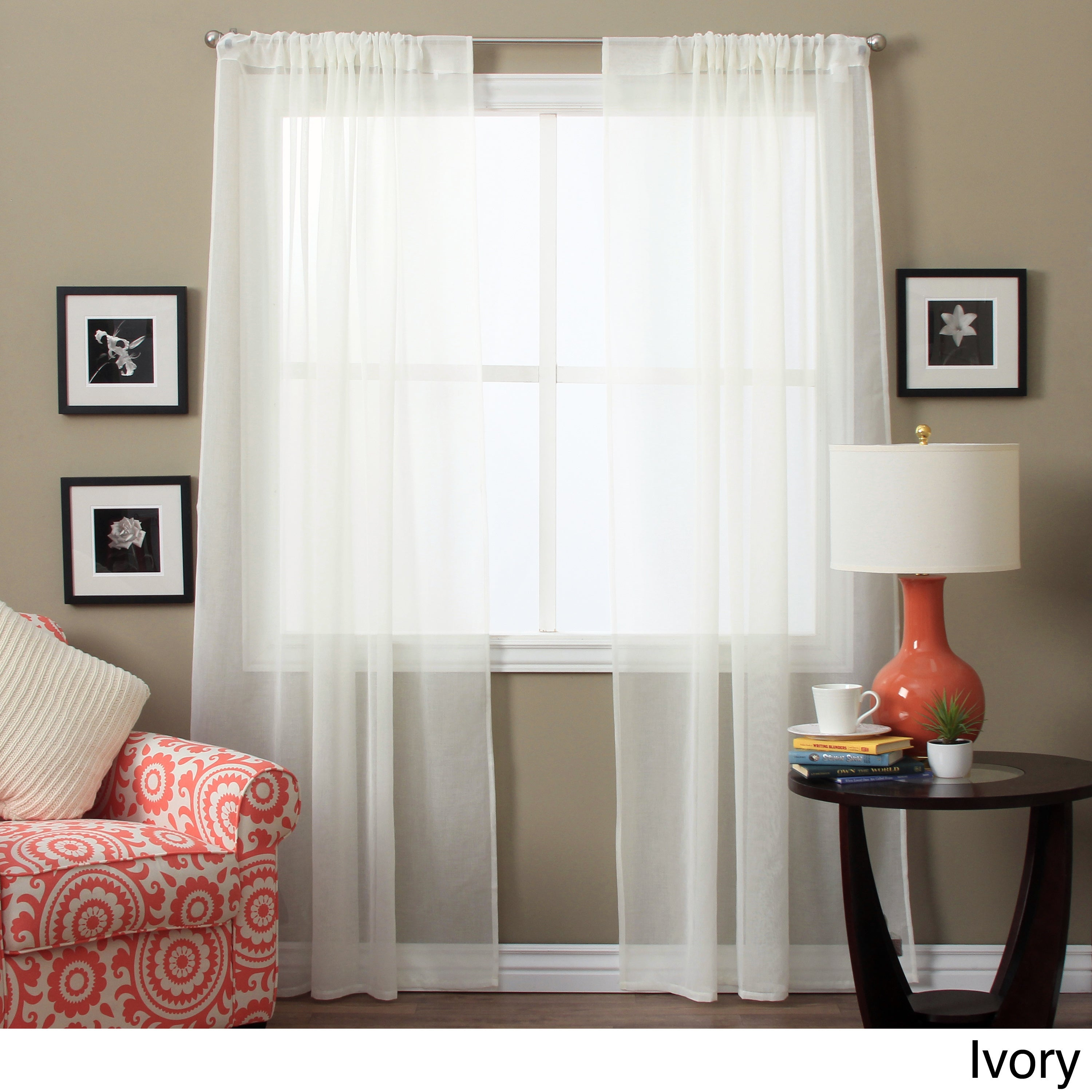 Shop Lucerne 63 Inch Sheer Curtain Panel Pair 52 X 63 Free