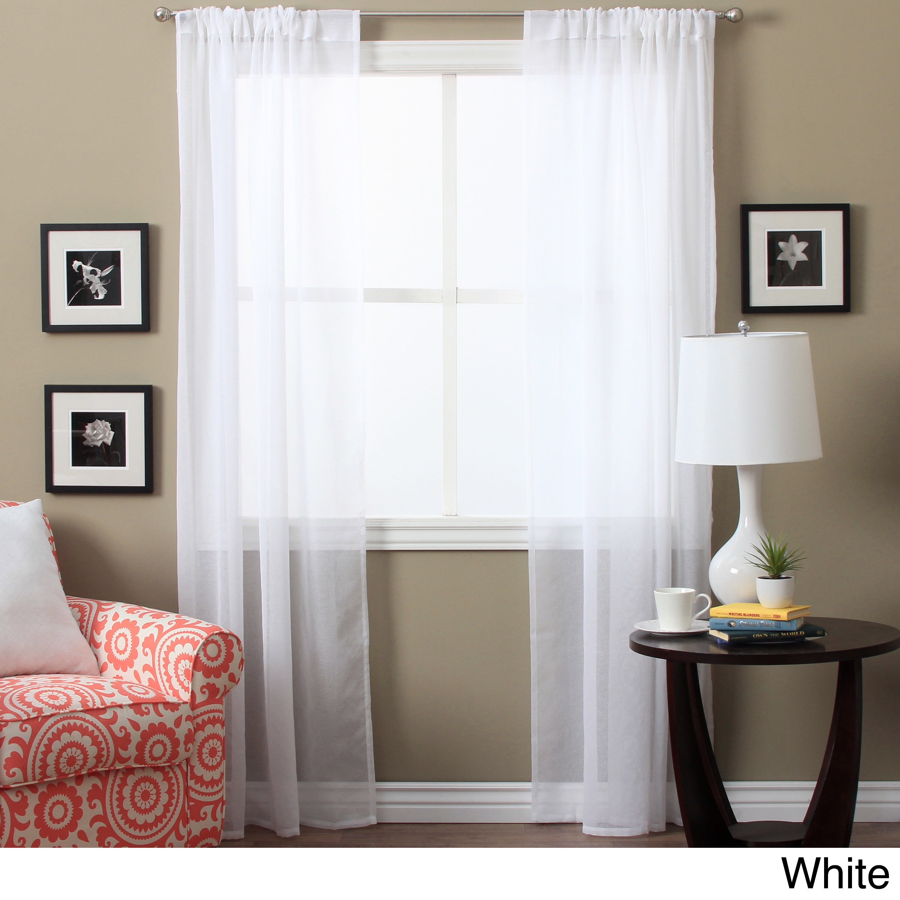 Shop Lucerne 63-inch Sheer Curtain Panel Pair - 52 x 63 - Free ...