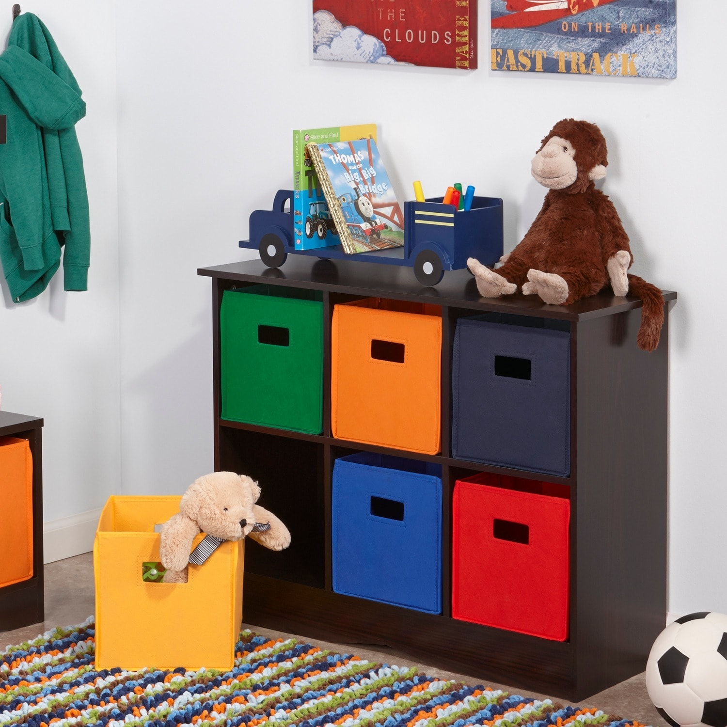 Beau Shop RiverRidge Kids Espresso Finish 6 Bin Storage Cabinet   Free Shipping  Today   Overstock.com   6204554
