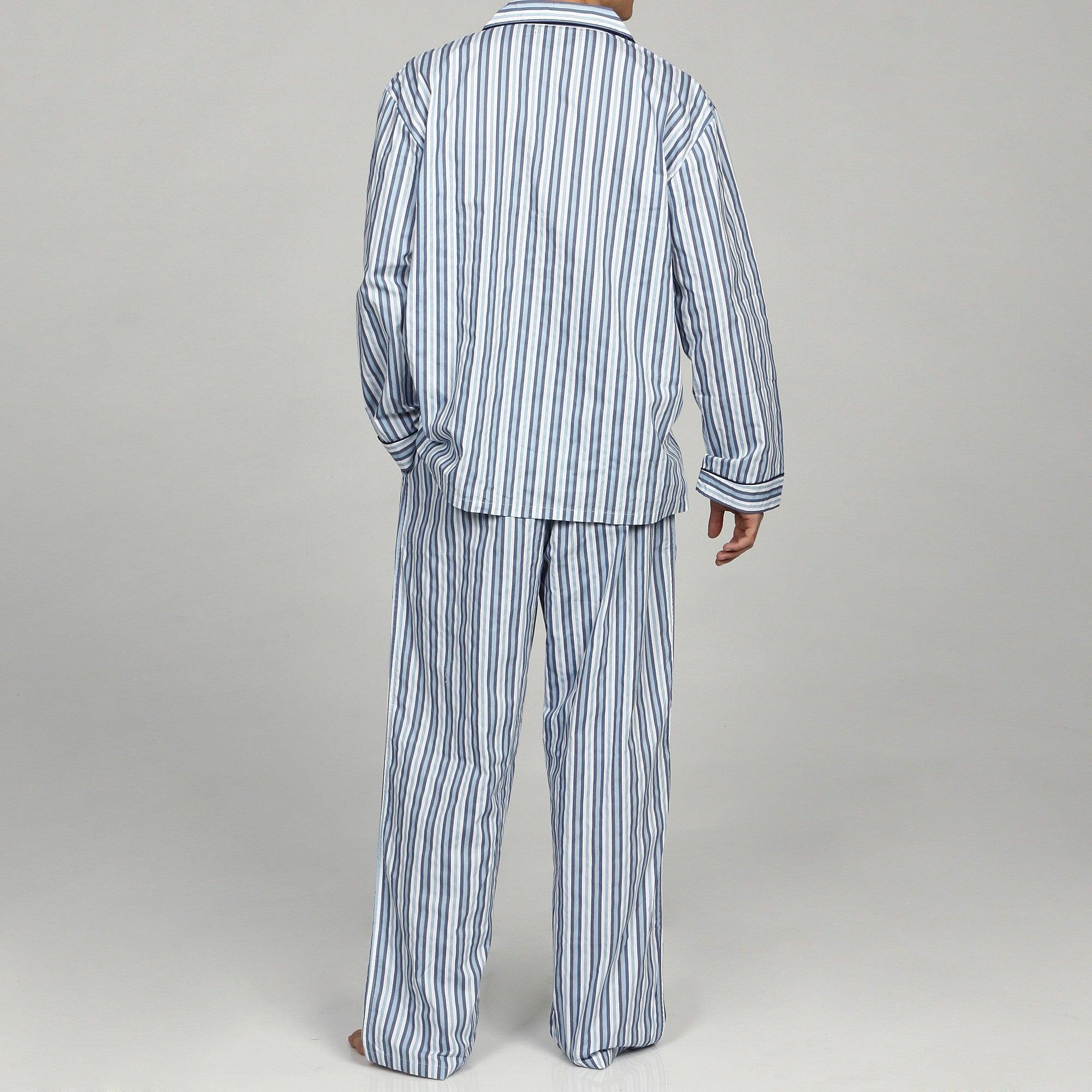 Shop Alexander Del Rossa Men s Striped Cotton Pajama Set - Free Shipping  Today - Overstock - 6205880 05dd31cc8