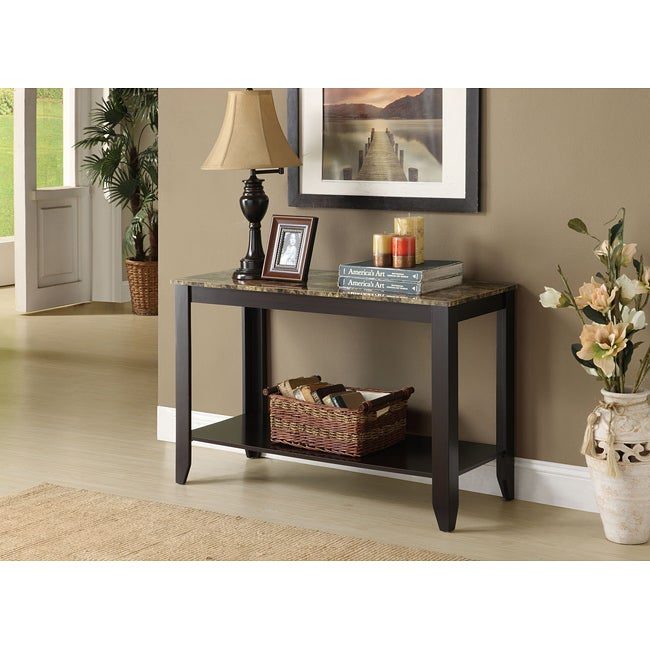Clay Alder Home Loma Cuccino Faux Marble Top Sofa Console Table Free Shipping Today 22751535