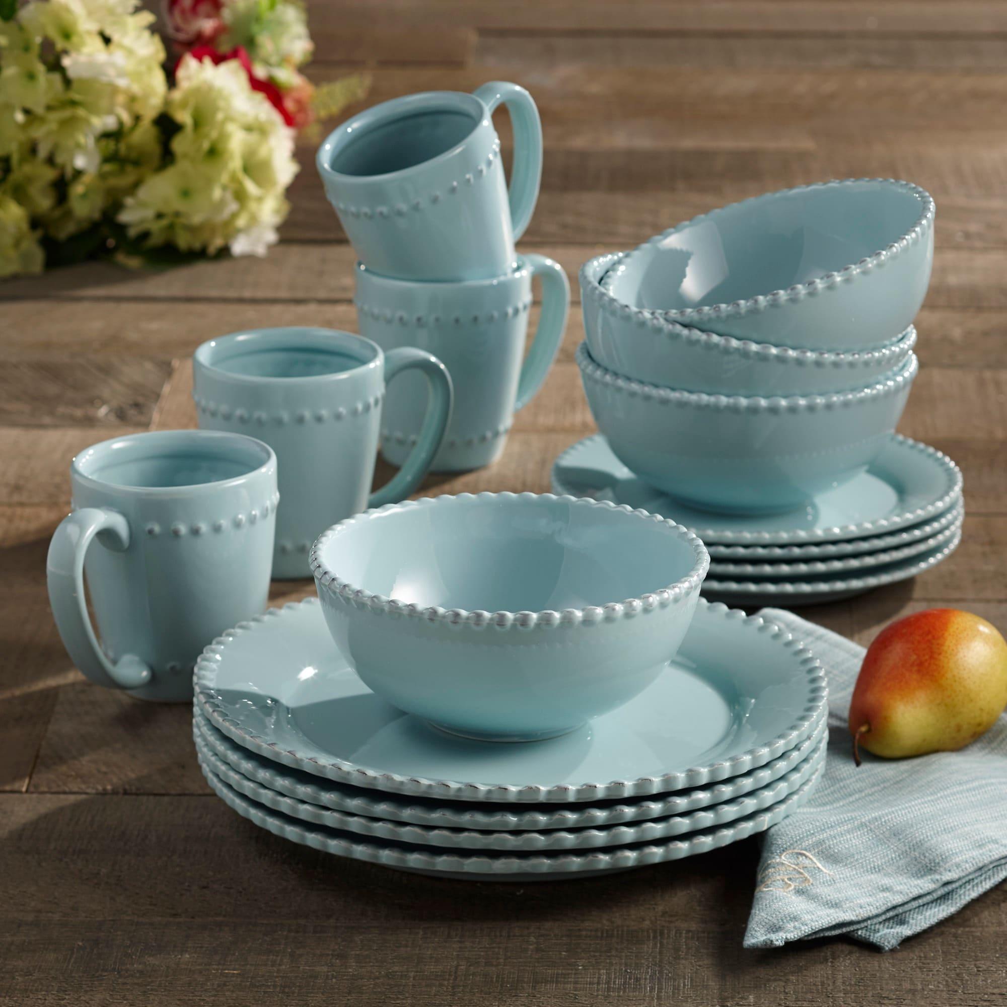 American Atelier Bianca Bead Azul 16-pc Dinnerware Set - Free Shipping Today - Overstock.com - 13858636 & American Atelier Bianca Bead Azul 16-pc Dinnerware Set - Free ...