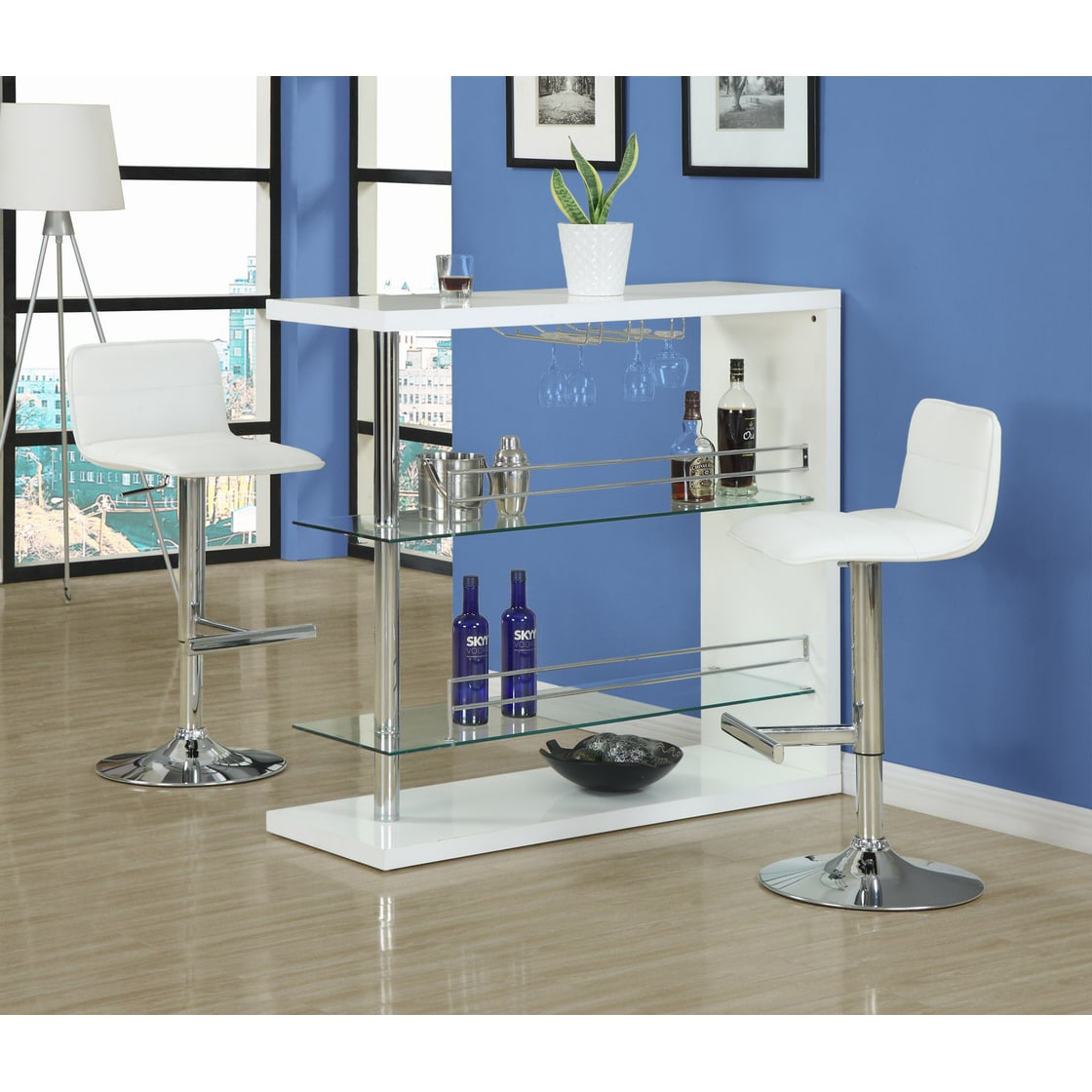 Shop White and Chrome Metal 48-inch Bar Table - On Sale - Free ...