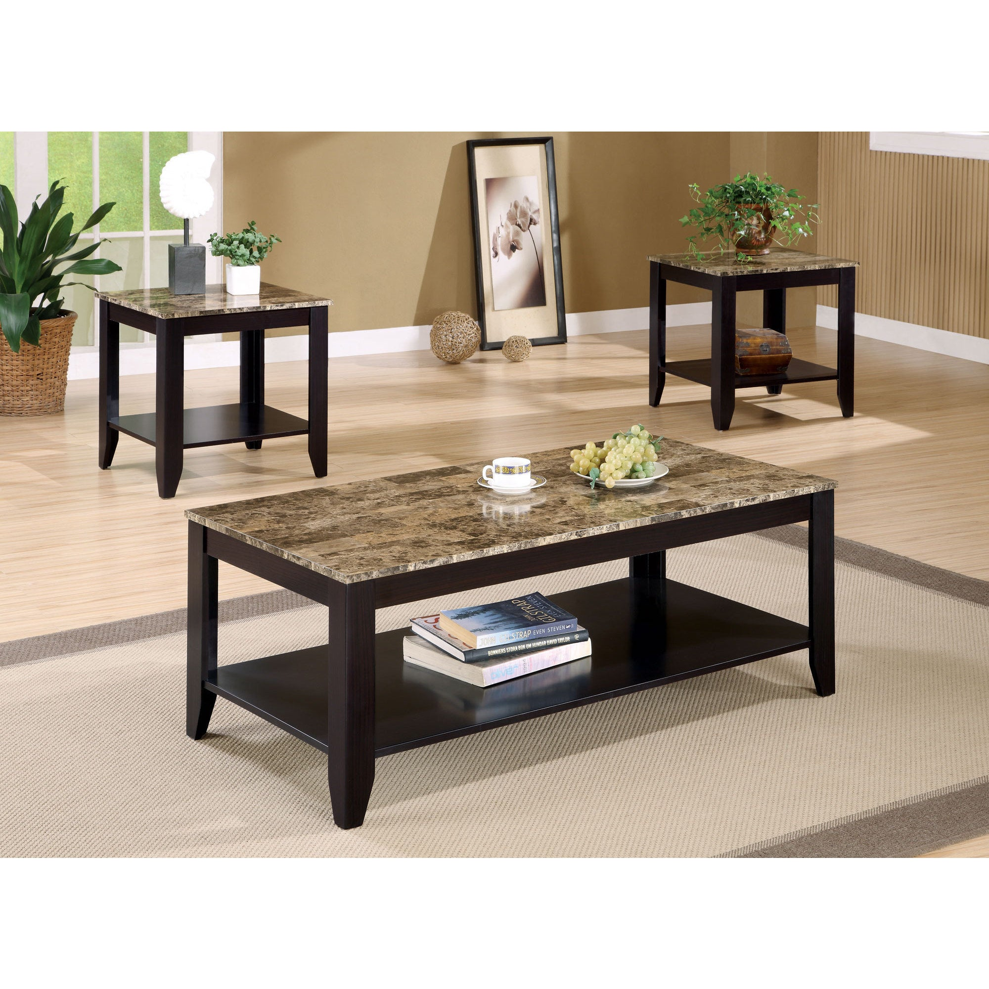 Cappuccino Marble Top 3 piece Promotional Table Set Free