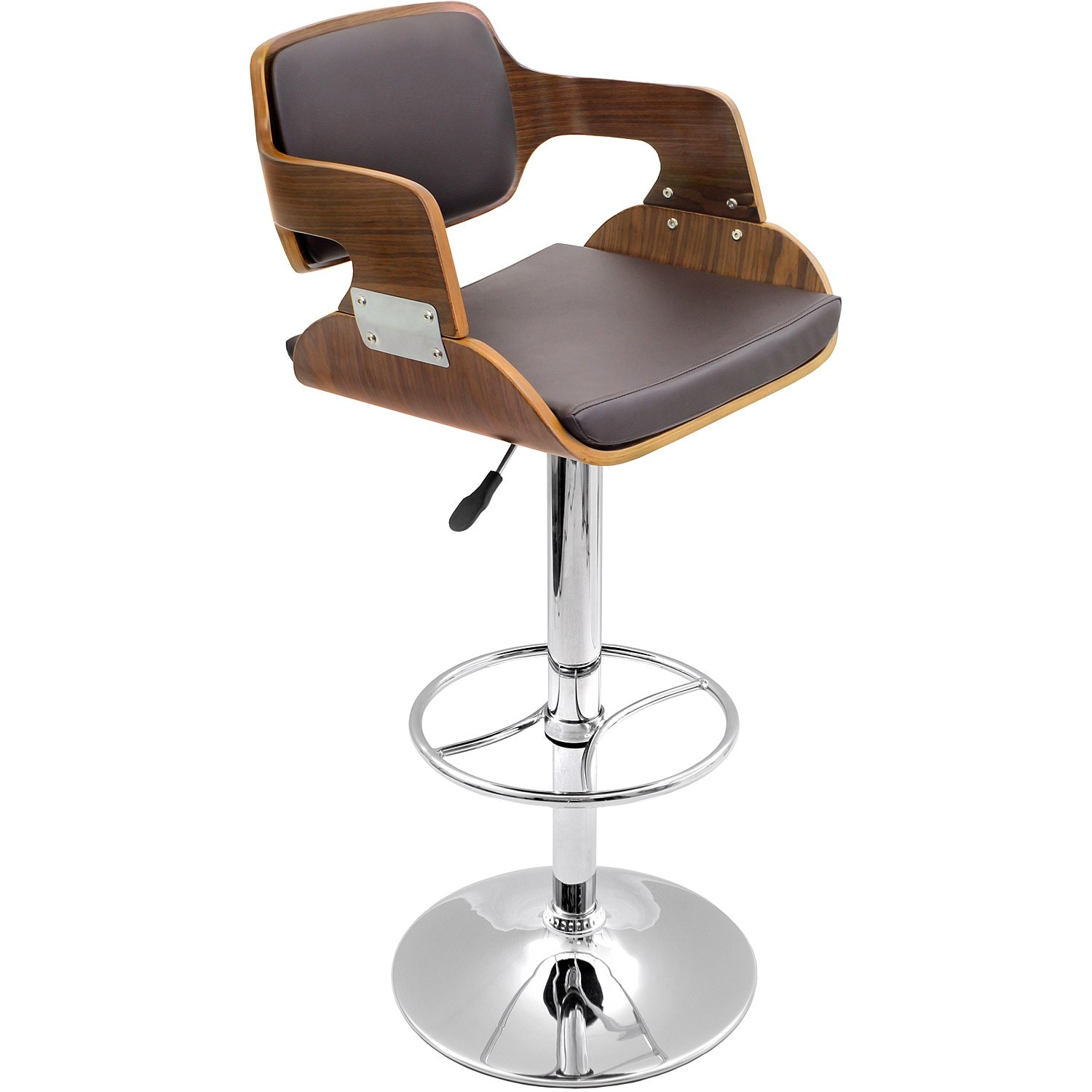 Shop fiore walnut wood mid century modern barstool on sale free shipping today overstock com 6223051