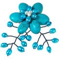 Handmade Steel Turquoise and Pearl Floral Drape Brooch (4-8 mm)(Thailand)