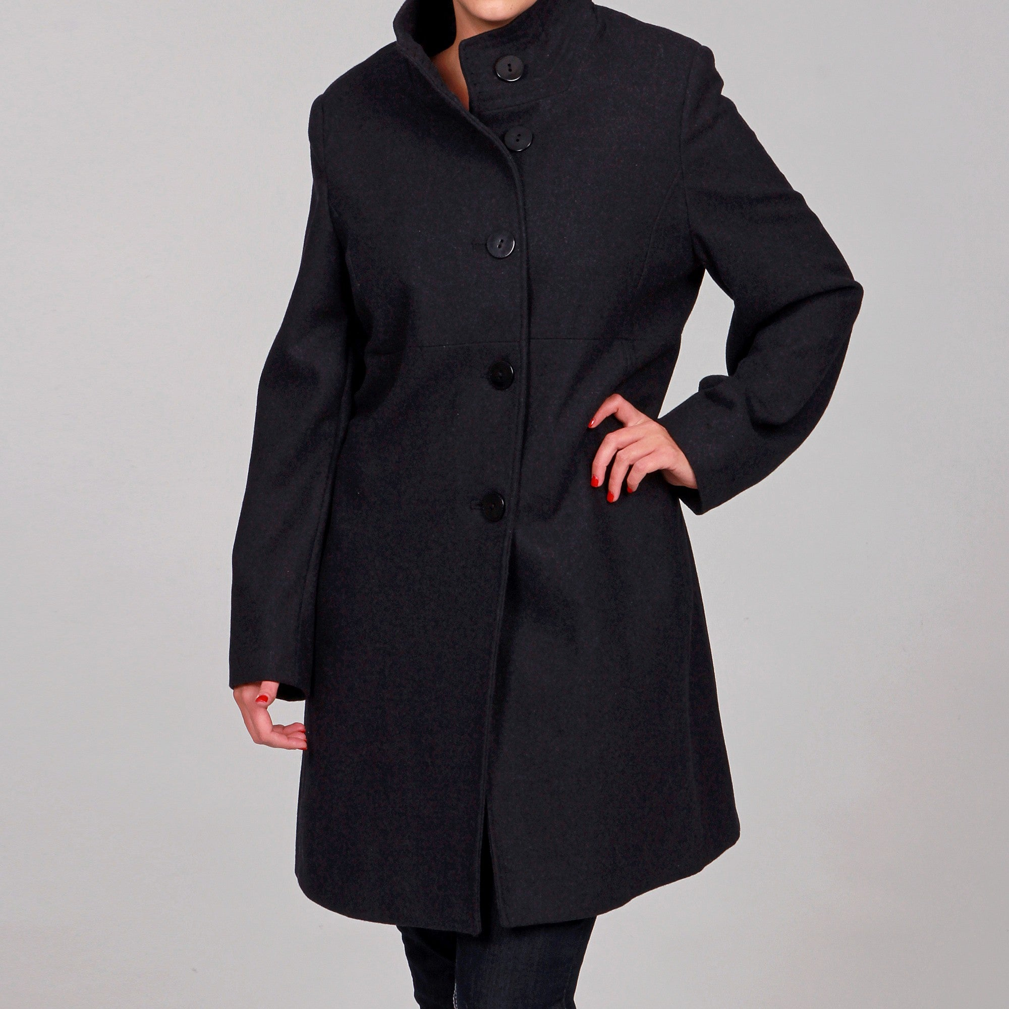 Jones New York Women\'s Plus Size Wool Blend Coat FINAL SALE