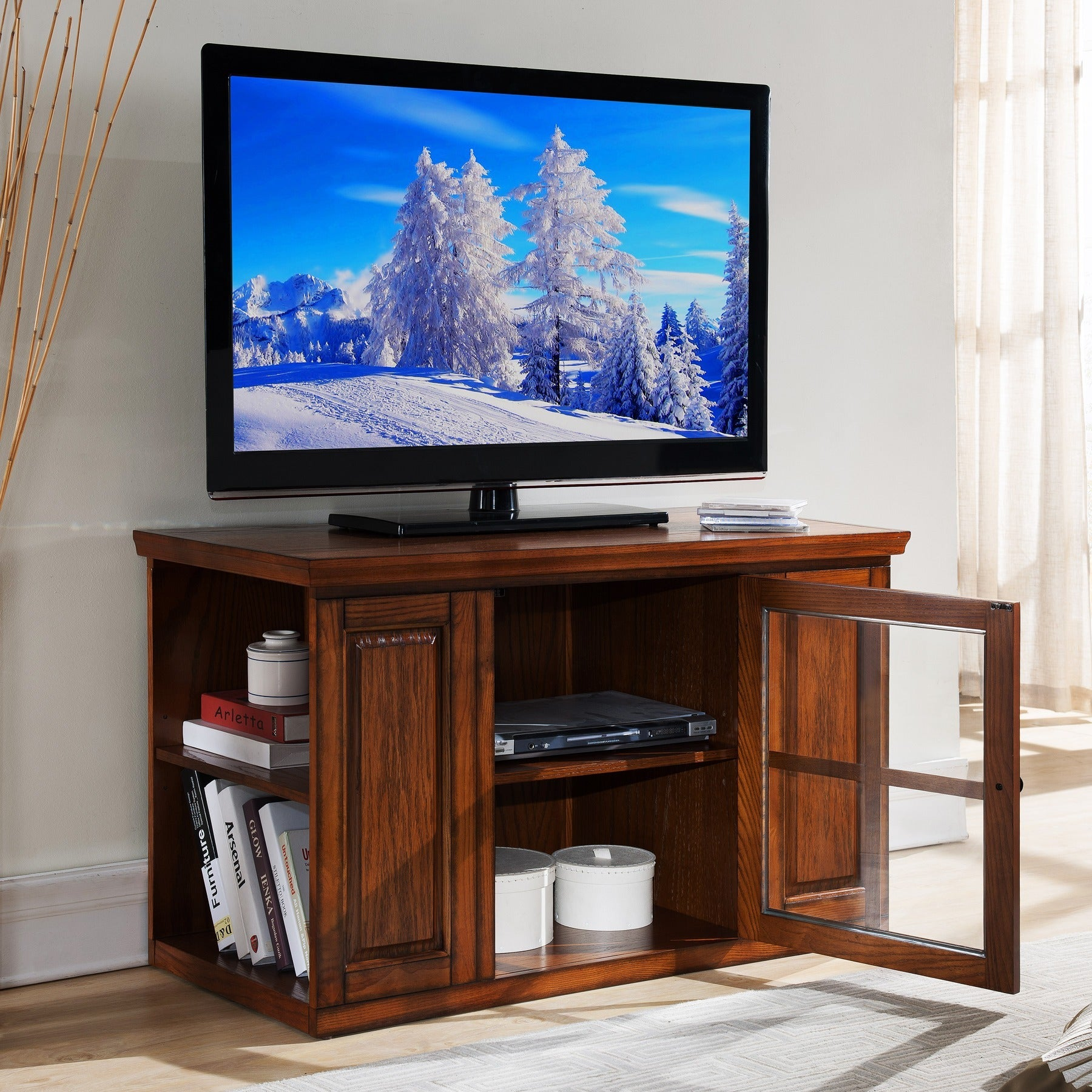 Shop Oak 42 Inch Bookcase Tv Stand Media Console Free Shipping