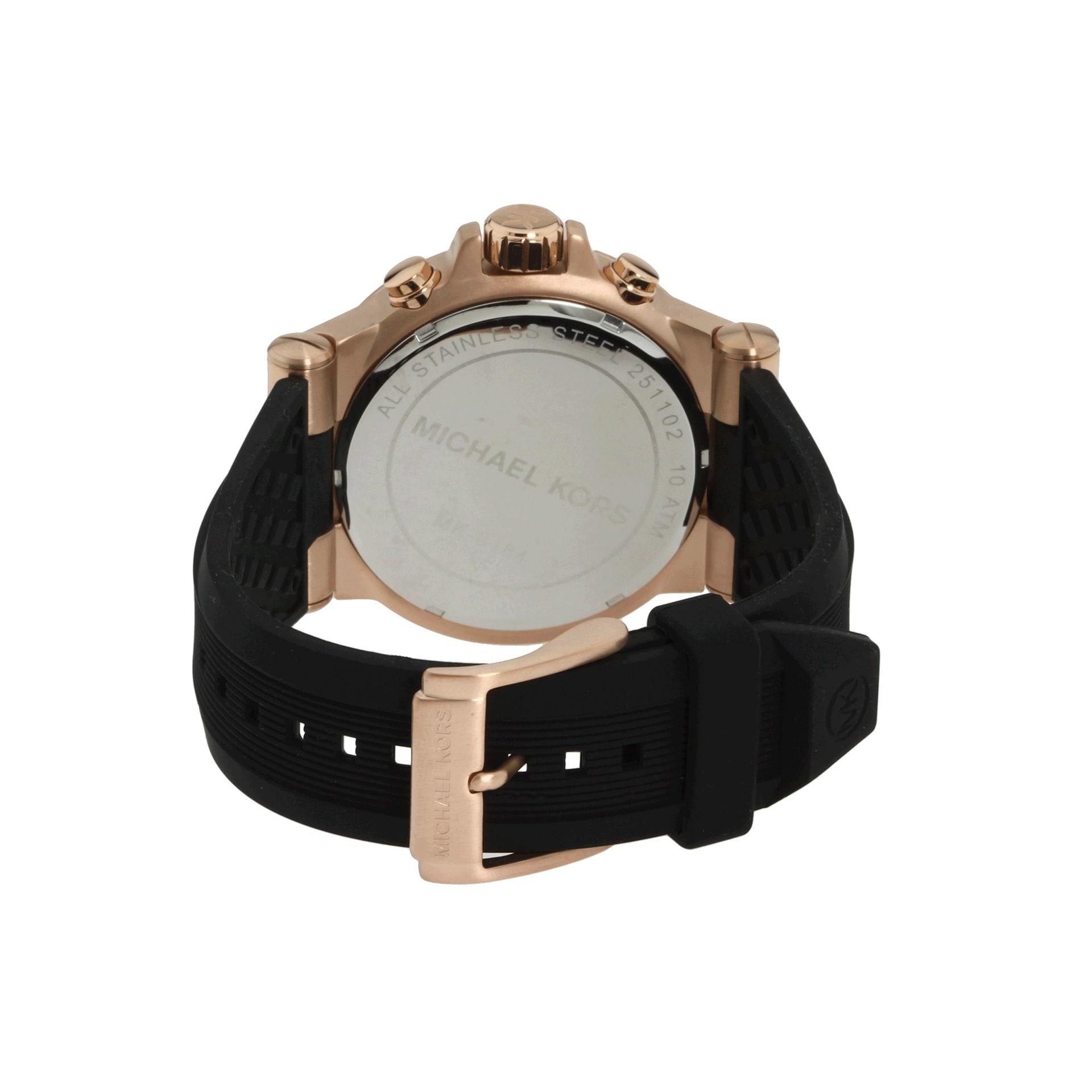 14a20db1b6b8 Shop Michael Kors Men s MK8184 Rose Goldtone Watch - Black - Free Shipping  Today - Overstock - 6232993