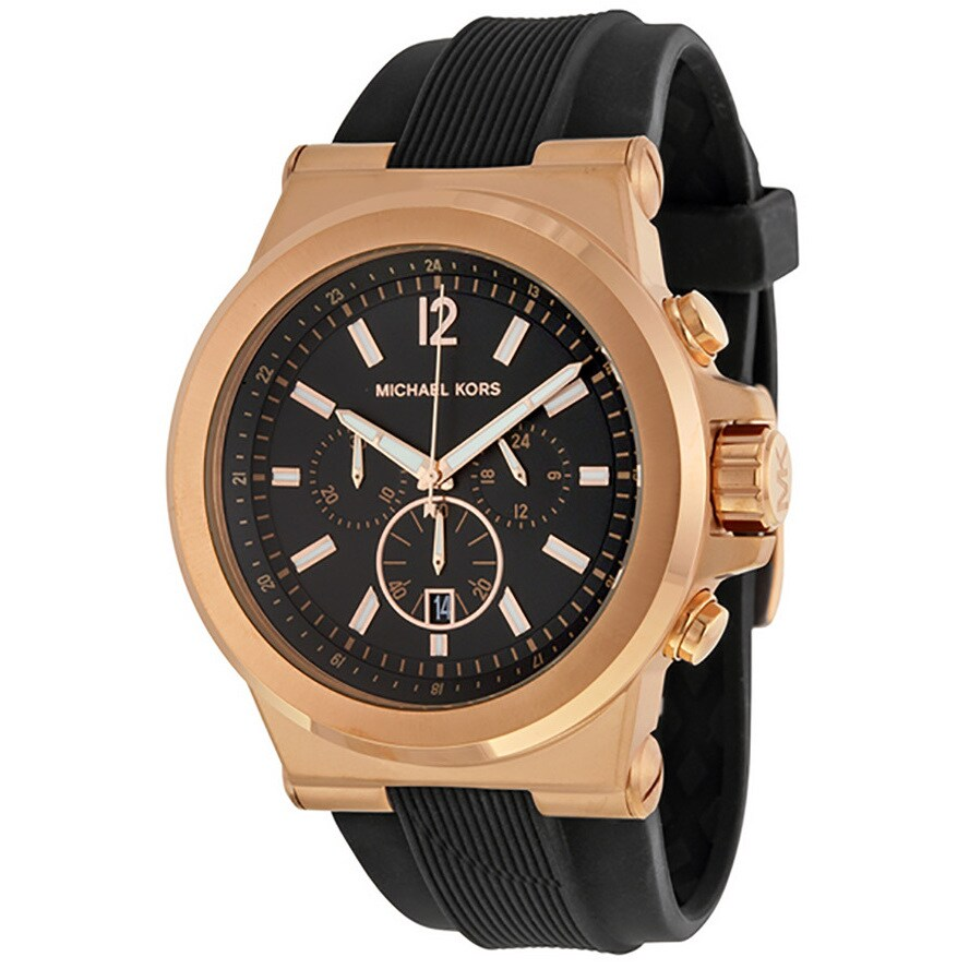 34540385a2a2 Shop Michael Kors Men s MK8184 Rose Goldtone Watch - Black - Free Shipping  Today - Overstock - 6232993