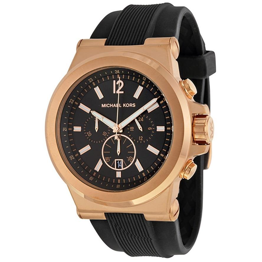 e7d2f0141fa5 Shop Michael Kors Men s MK8184 Rose Goldtone Watch - Black - Free Shipping  Today - Overstock - 6232993