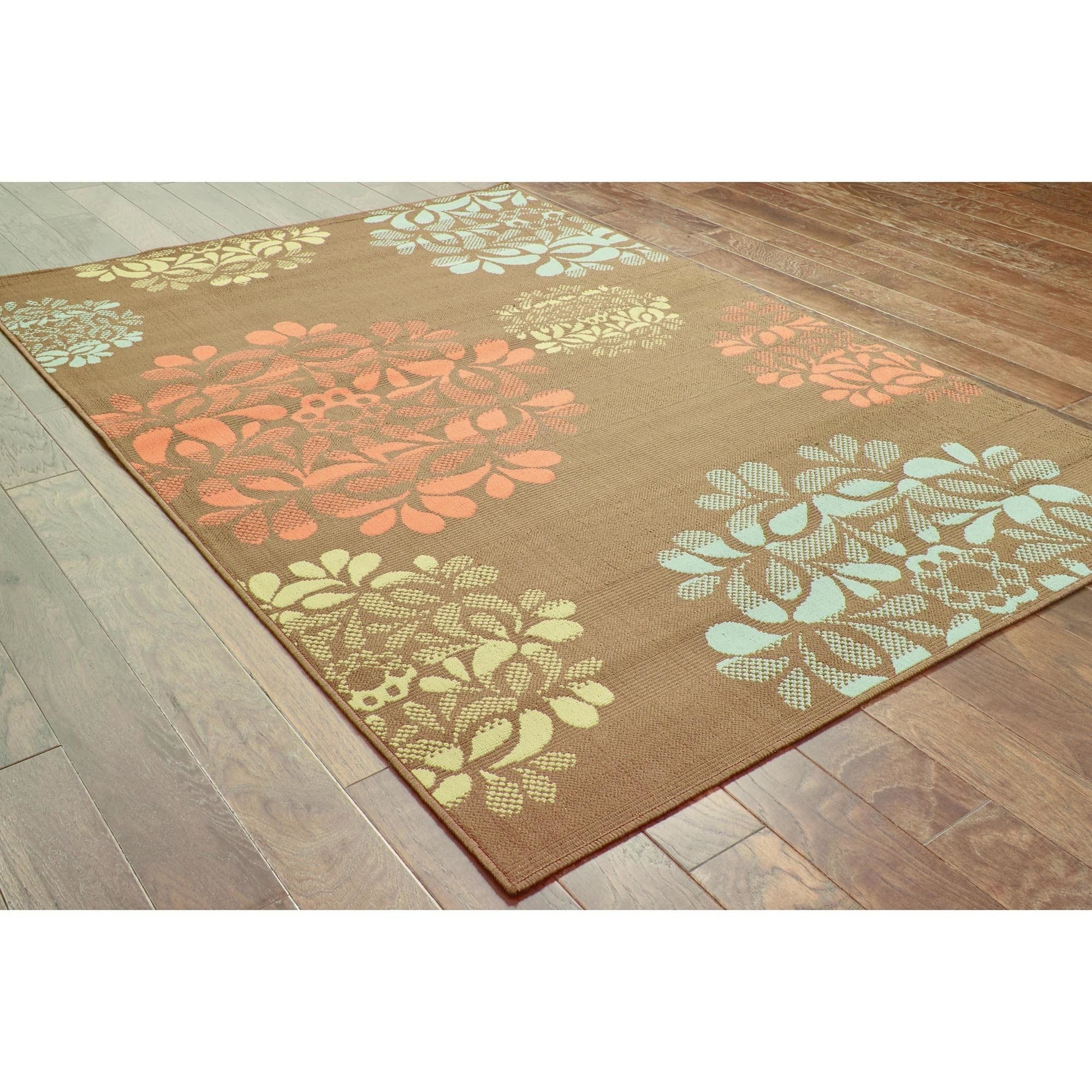 StyleHaven Floral Brown Blue Indoor Outdoor Area Rug 6 7x9 6