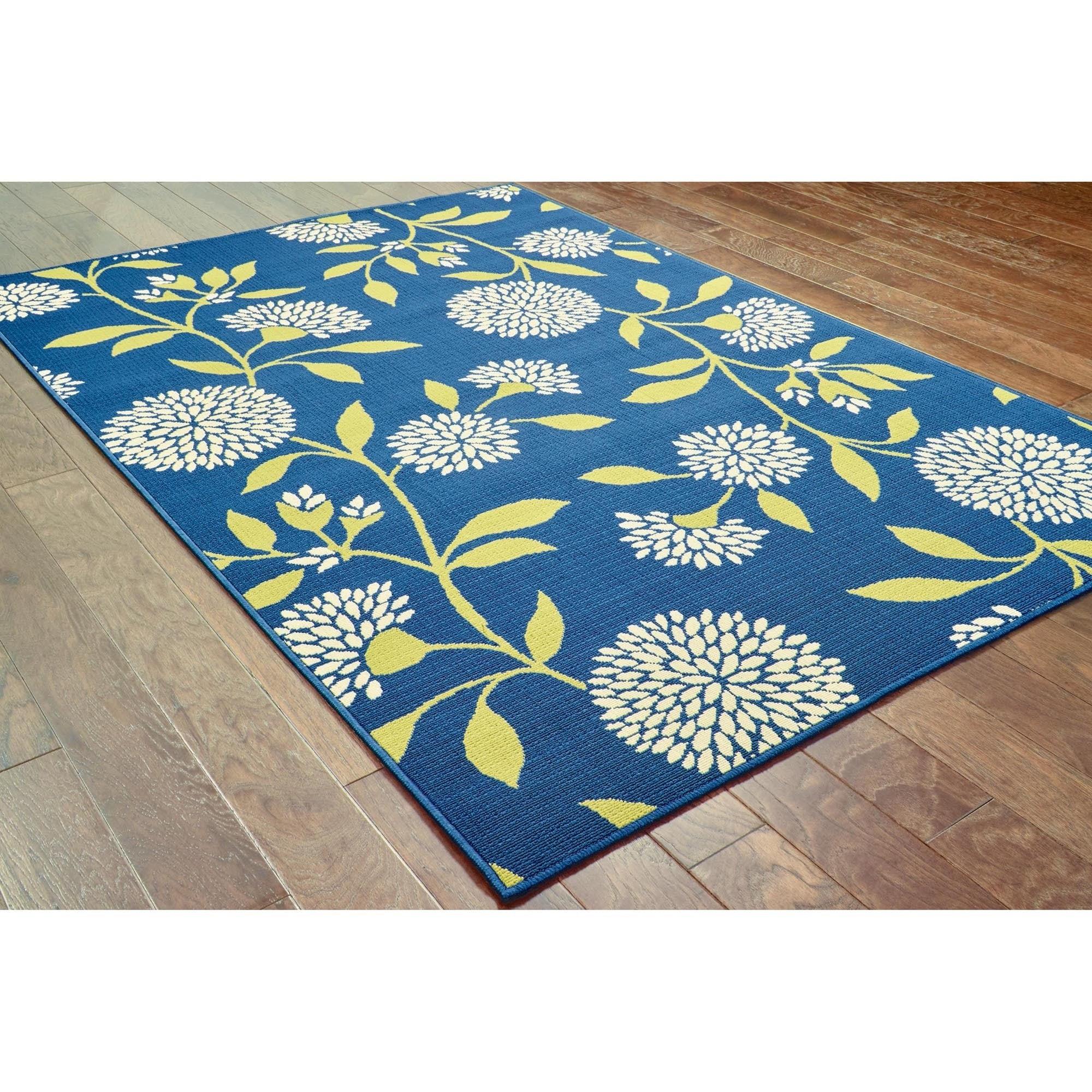 Shop Palm Canyon Cielo Floral Blue/Green Indoor/ Outdoor Area Rug ...