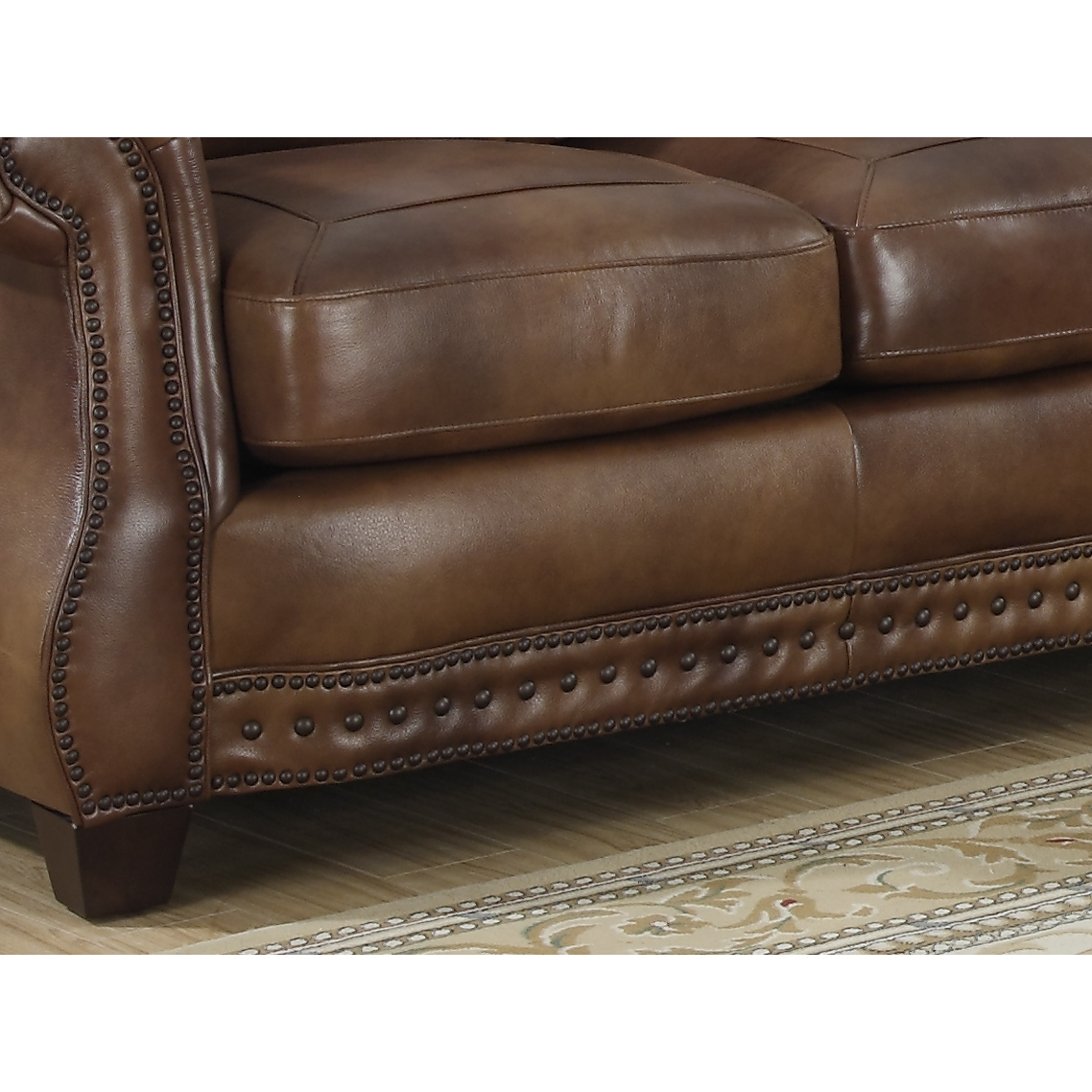 Sterling Cognac Brown Italian Leather Sofa And Two Chairs Free  ~ Leather Sofa And Two Chairs