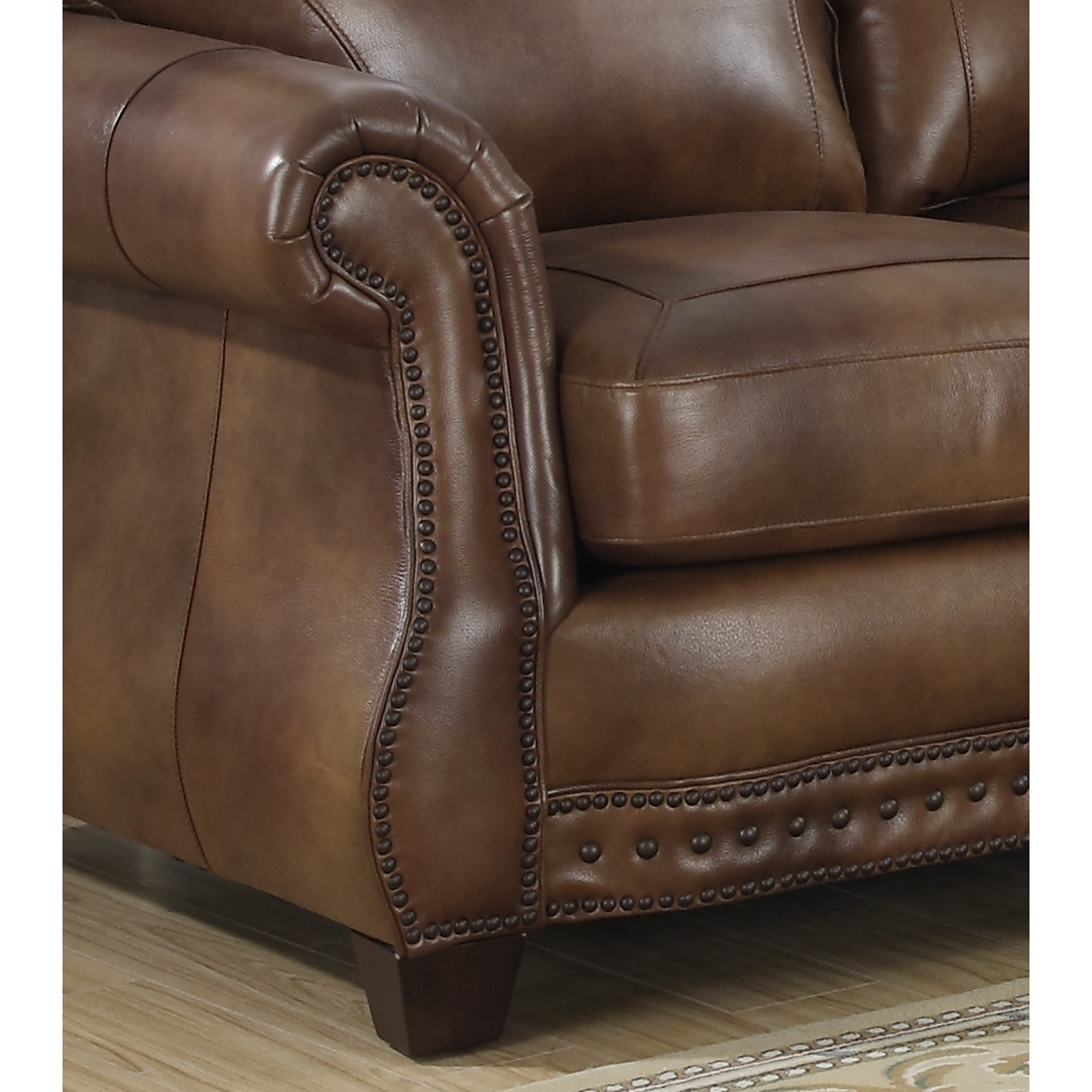 Sterling Cognac Brown Italian Leather Sofa And Two Chairs Free  ~ Brown Italian Leather Sofa
