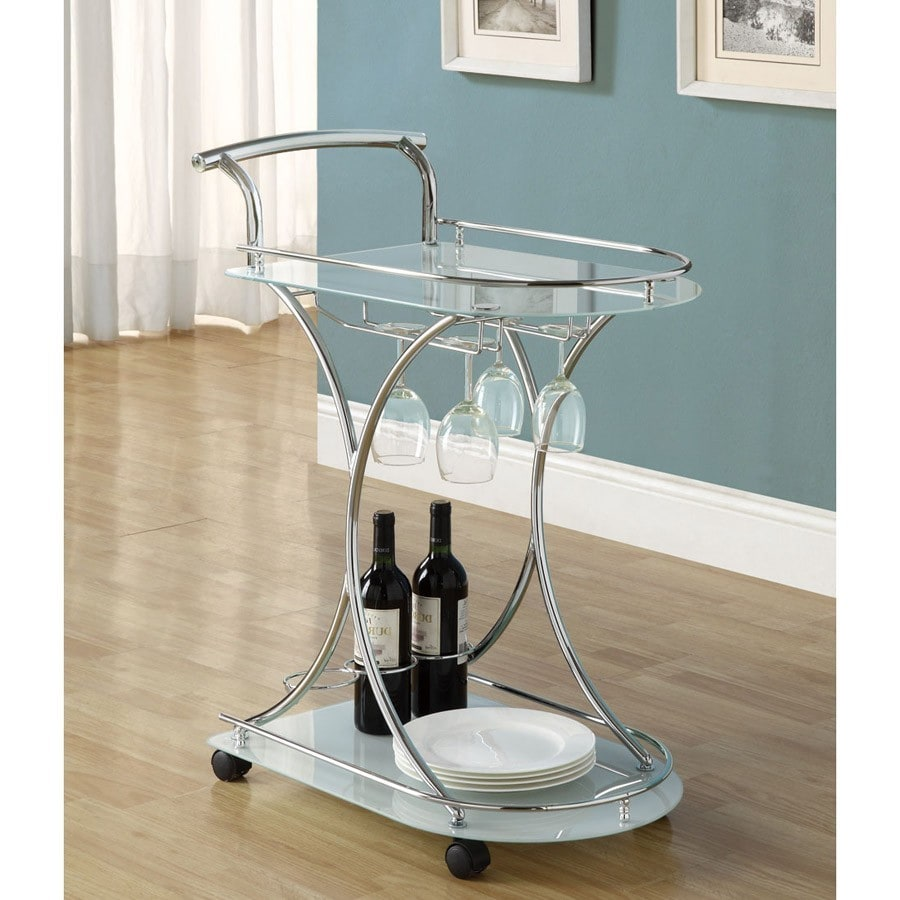White Gl Chrome Modern Bar Cart Free Shipping Today