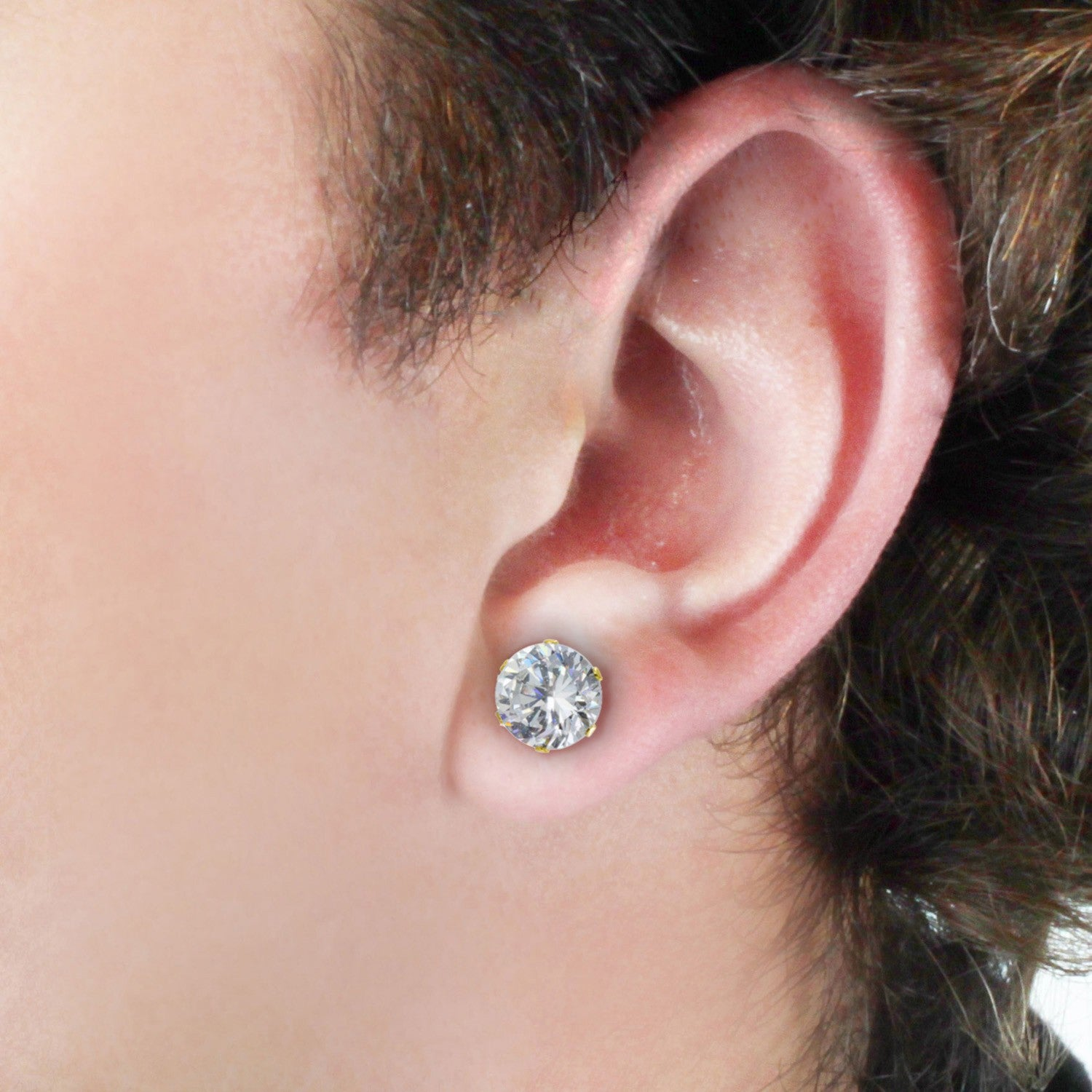 Gold Plated Steel 8mm Cubic Zirconia Stud Earrings White Free Shipping On Orders Over 45 6237887