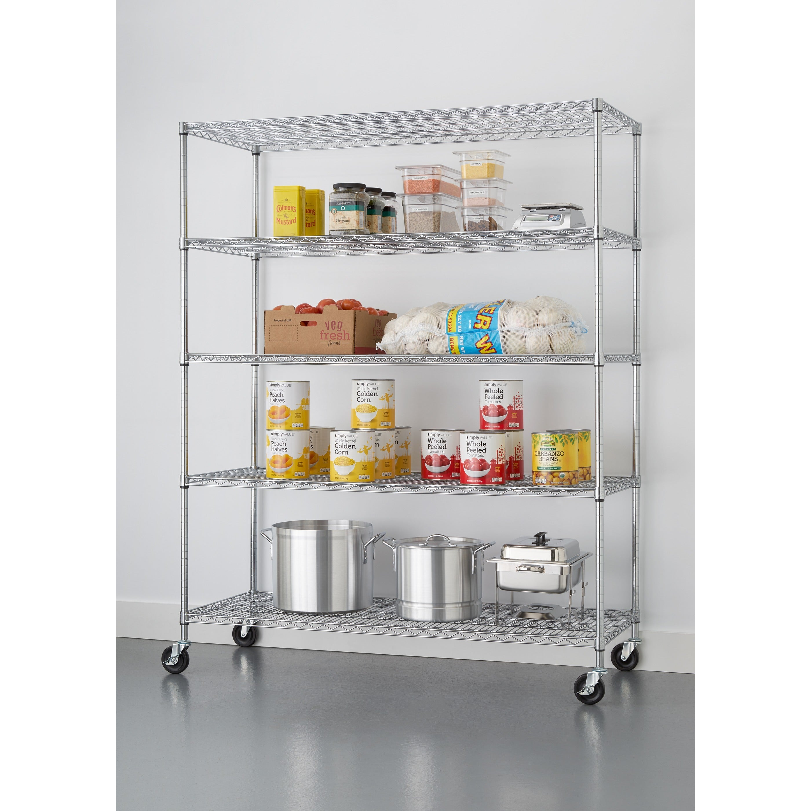 Trinity 5-tier Heavy Duty Commercial Chrome Wire Shelving Rack with ...