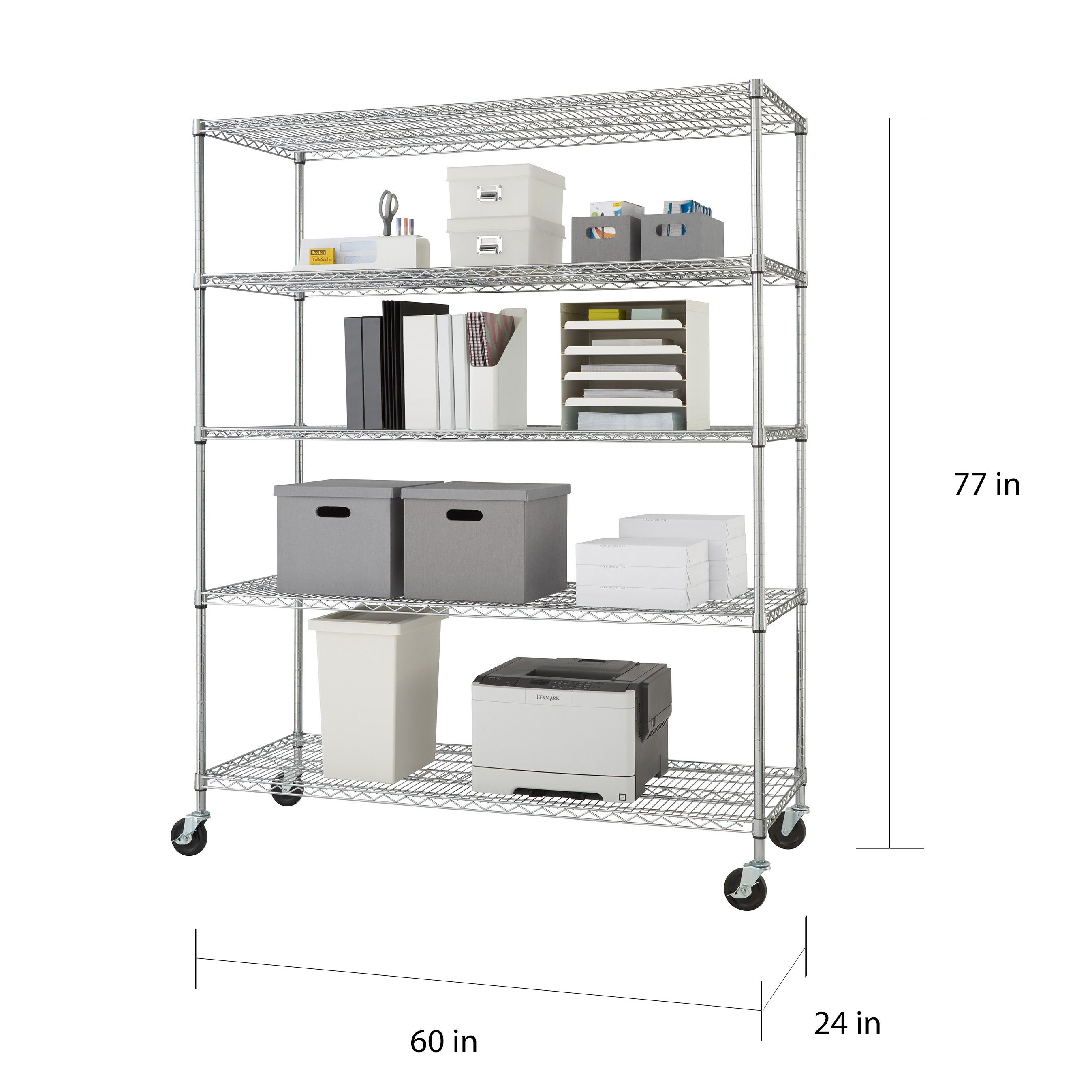 Shop Trinity 5-tier Heavy Duty Commercial Chrome Wire Shelving Rack ...