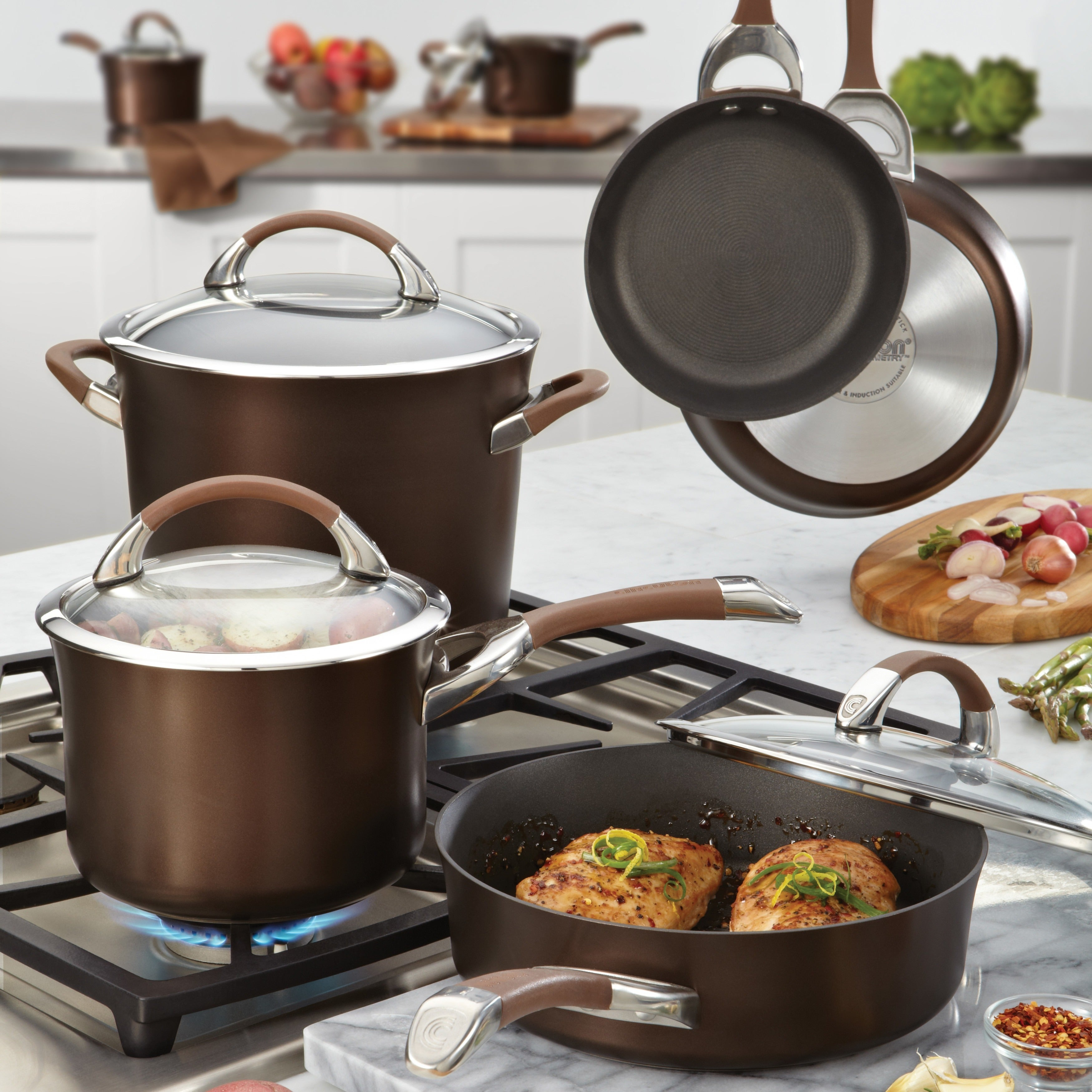 Circulon Symmetry Chocolate Hard Anodized Nonstick 11 Piece Cookware Set Free Shipping Today 6243251
