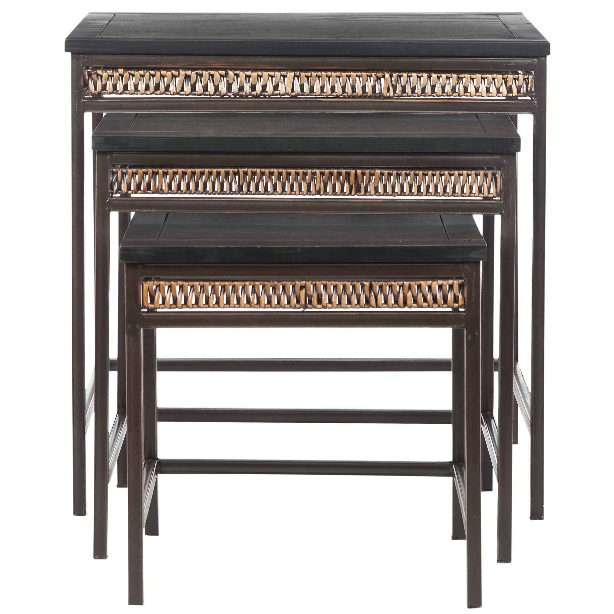 Shop Safavieh Bedford 3 Piece Wicker Accent Nesting Table   Free Shipping  Today   Overstock.com   6248029