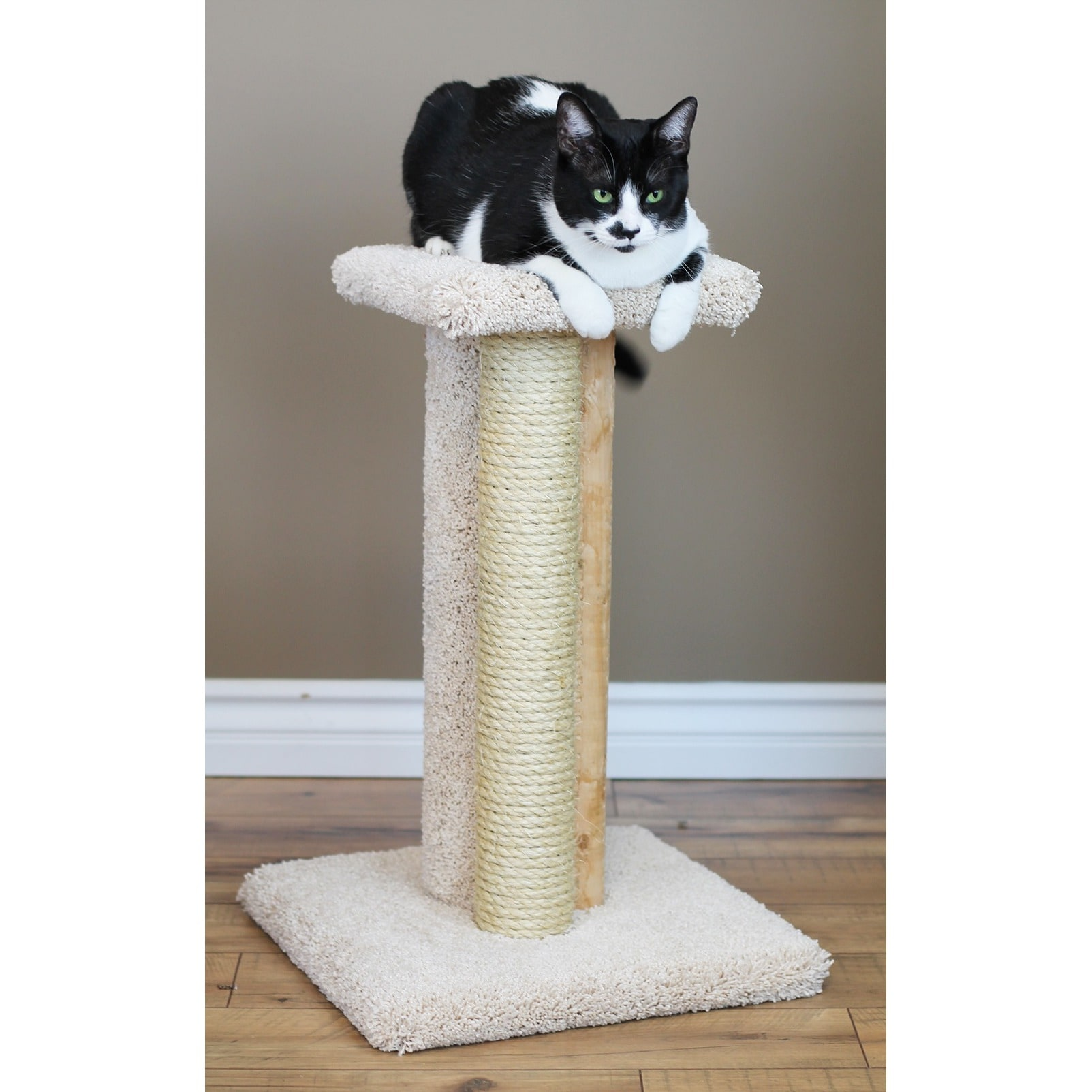 New Cat Condos Brown Wood Triple Cat Scratcher