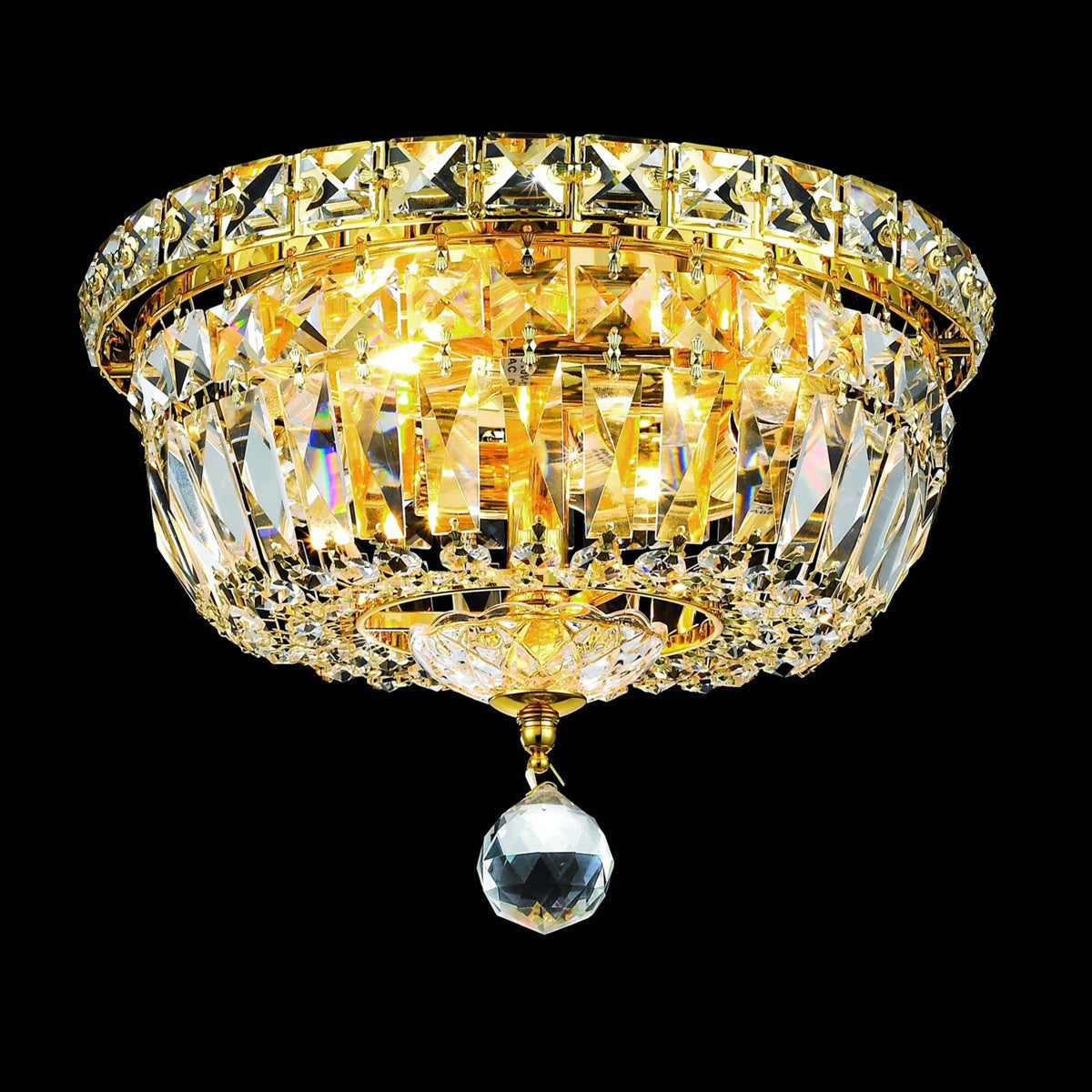 Shop Elegant Lighting Crystal Chandelier Gold Flush Mount Light - Free  Shipping Today - Overstock - 6265509 a57ac0361136