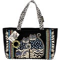 Laurel Burch Spotted Cats Zip Top Medium Tote