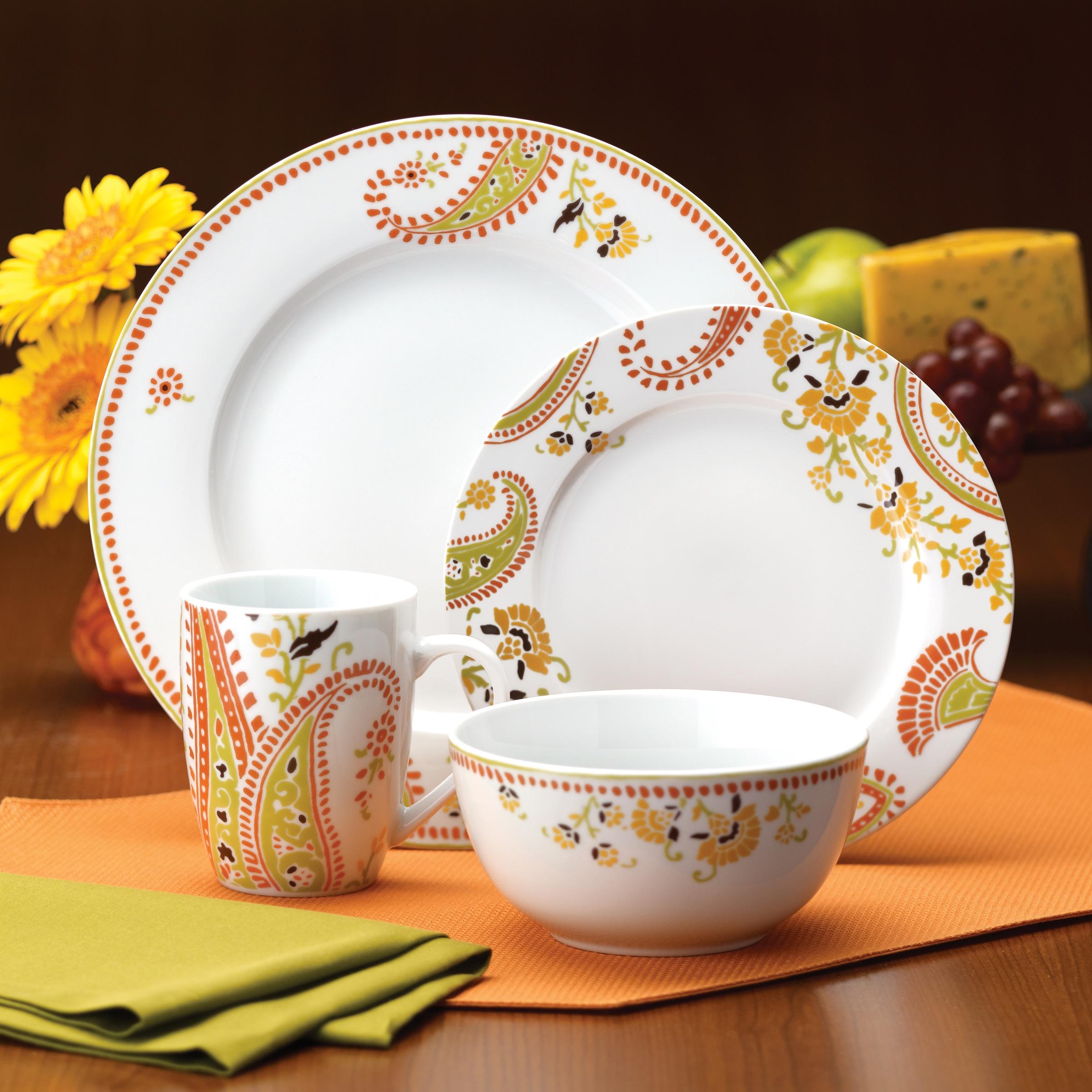 Rachael Ray Dinnerware Paisley 16-piece Porcelain Dinnerware Set - Free Shipping Today - Overstock - 13906650 & Rachael Ray Dinnerware Paisley 16-piece Porcelain Dinnerware Set ...