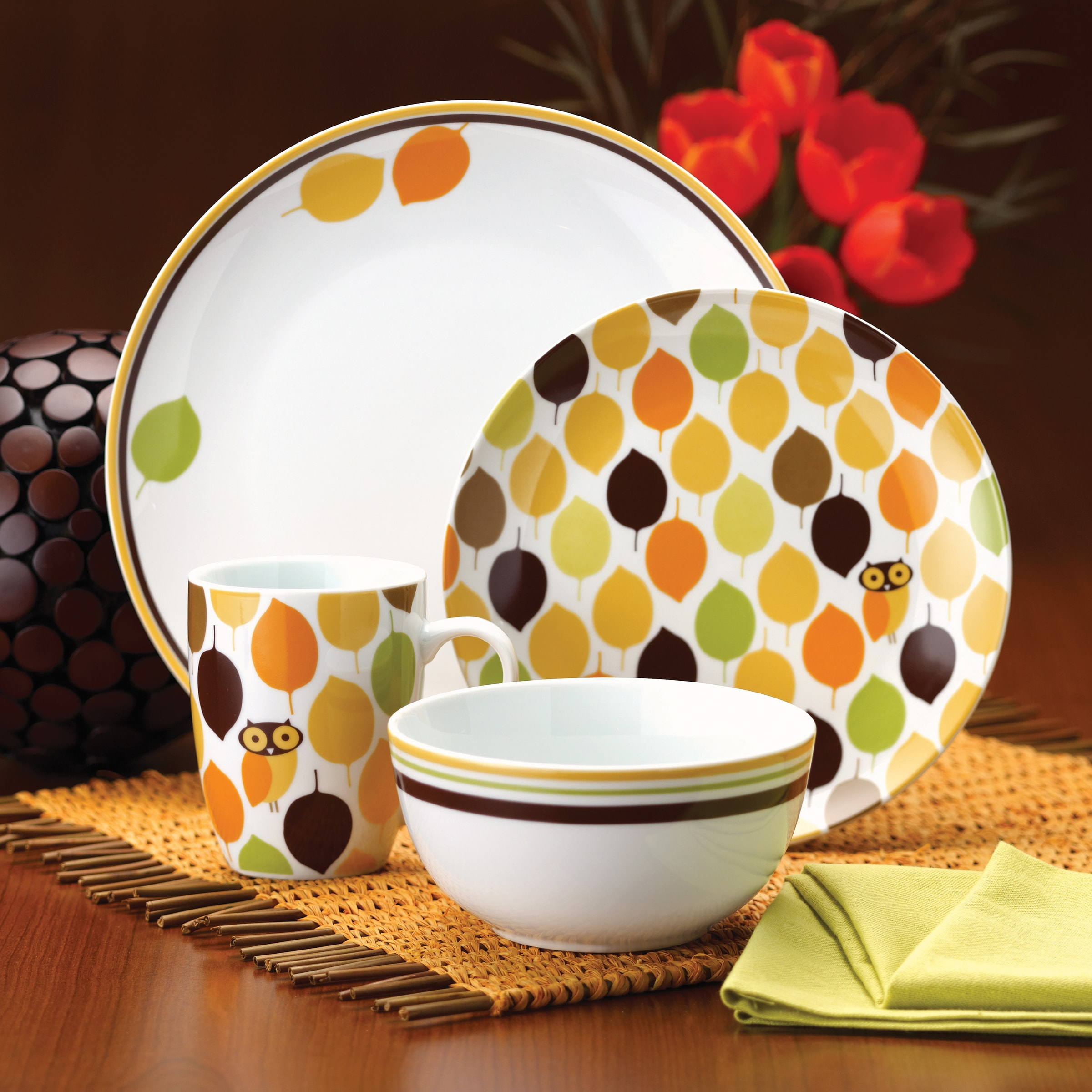 Rachael Ray Dinnerware Little Hoot 16-piece Porcelain Dinnerware Set - Free Shipping Today - Overstock - 13906651 & Rachael Ray Dinnerware Little Hoot 16-piece Porcelain Dinnerware Set ...