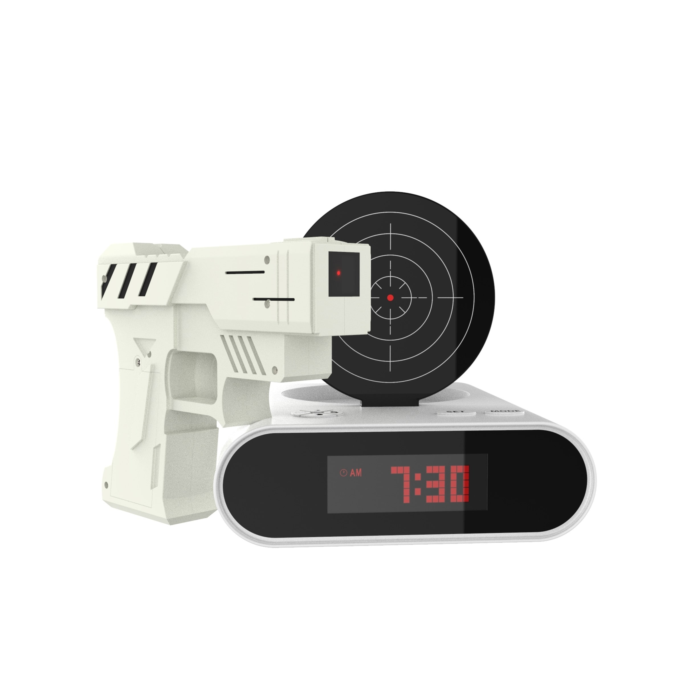 Shop Toy Gun Alarm Clock Game Infrared Laser Activated Snooze Target Record Personalized Tm Games Black White On Sale Free Shipping Orders